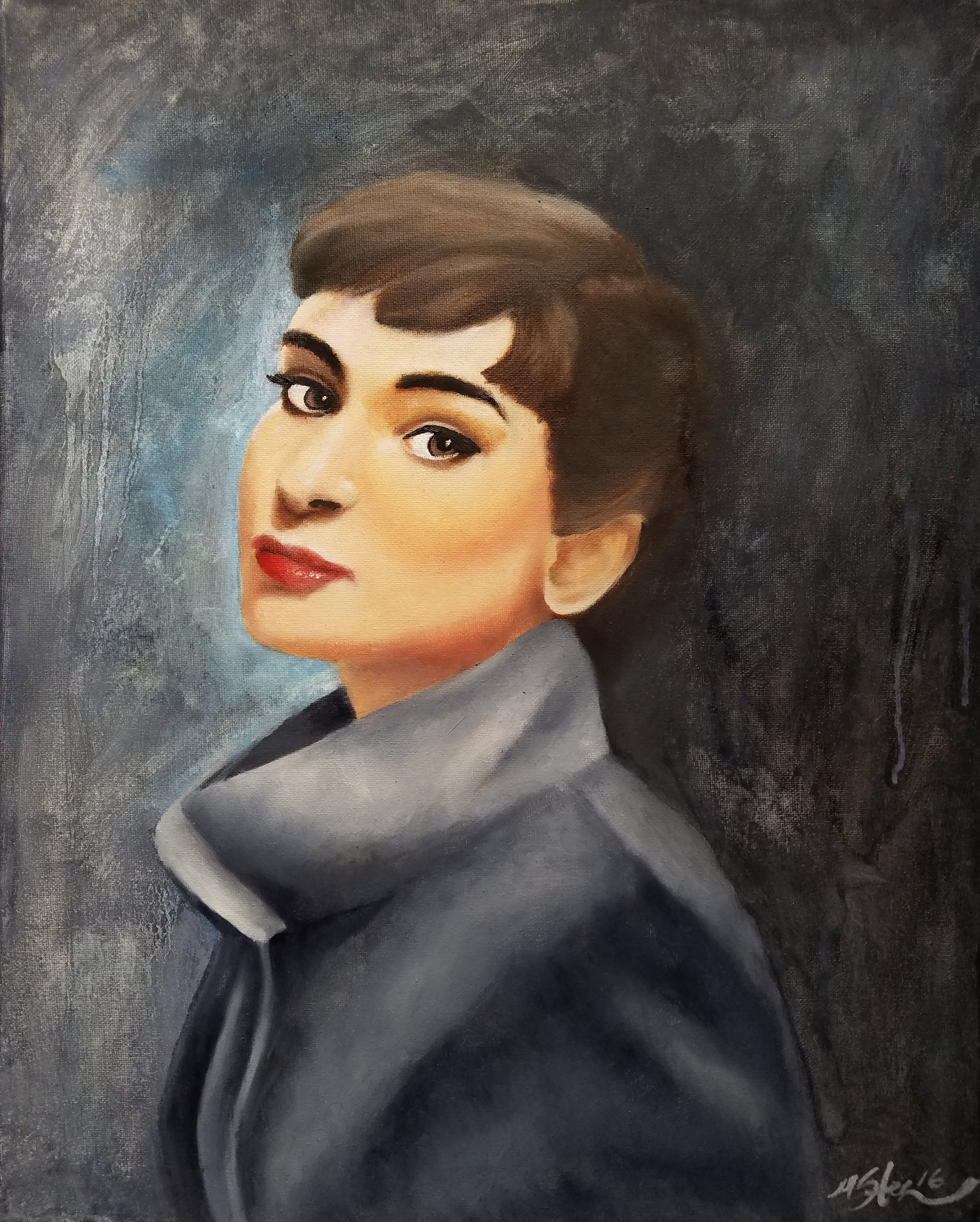 """Audrey Hepburn"" 2017. Oil on Canvas."