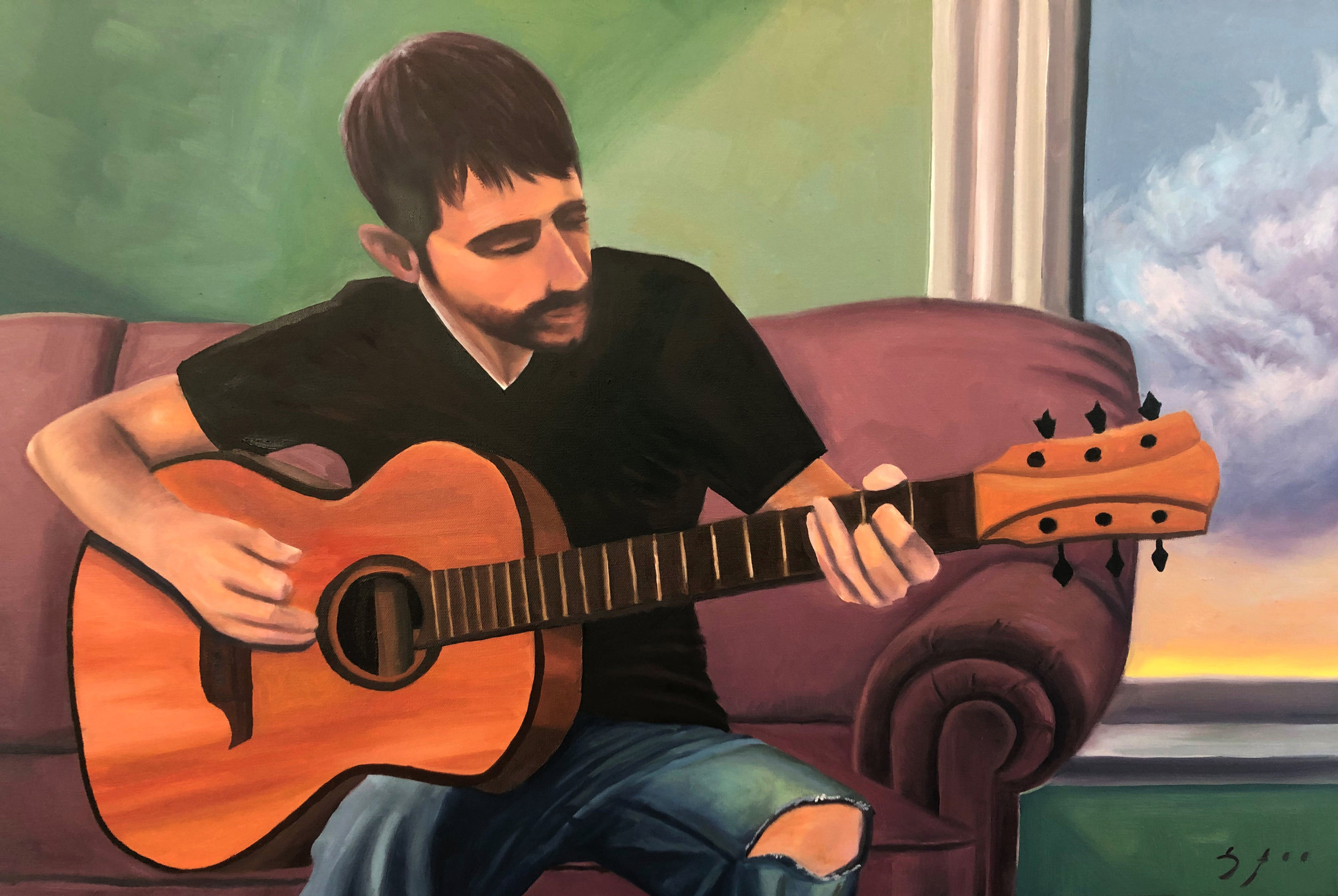 """""""Davis Playing Guitar"""" 2019. 30x35 in. Oil on Canvas."""