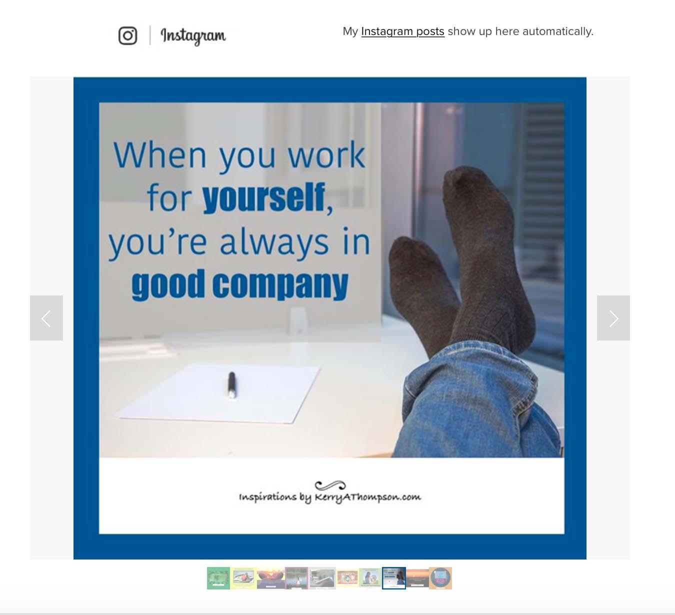 The Instagram feed block on my Squarespace website shows my latest Instagram posts (KerryAThompson.com)