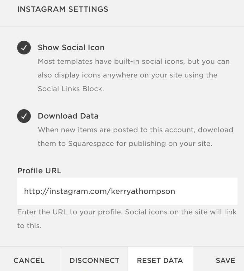 The Squarespace Reset Data option updates the social media feed to match the connected account