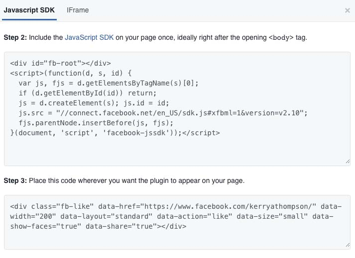 Facebook Button Configurator code generated for Javascript and HTML (KerryAThompson.com)