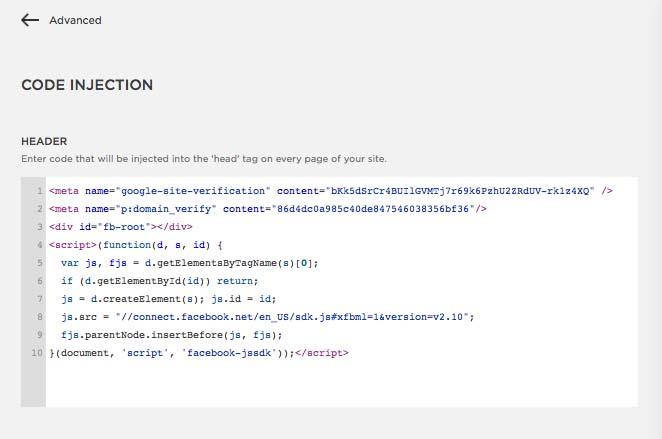 Facebook Button Configurator JavaScript code in Header section of website (KerryAThompson.com)