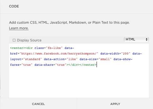 Facebook Button Configurator HTML code in website (KerryAThompson.com)