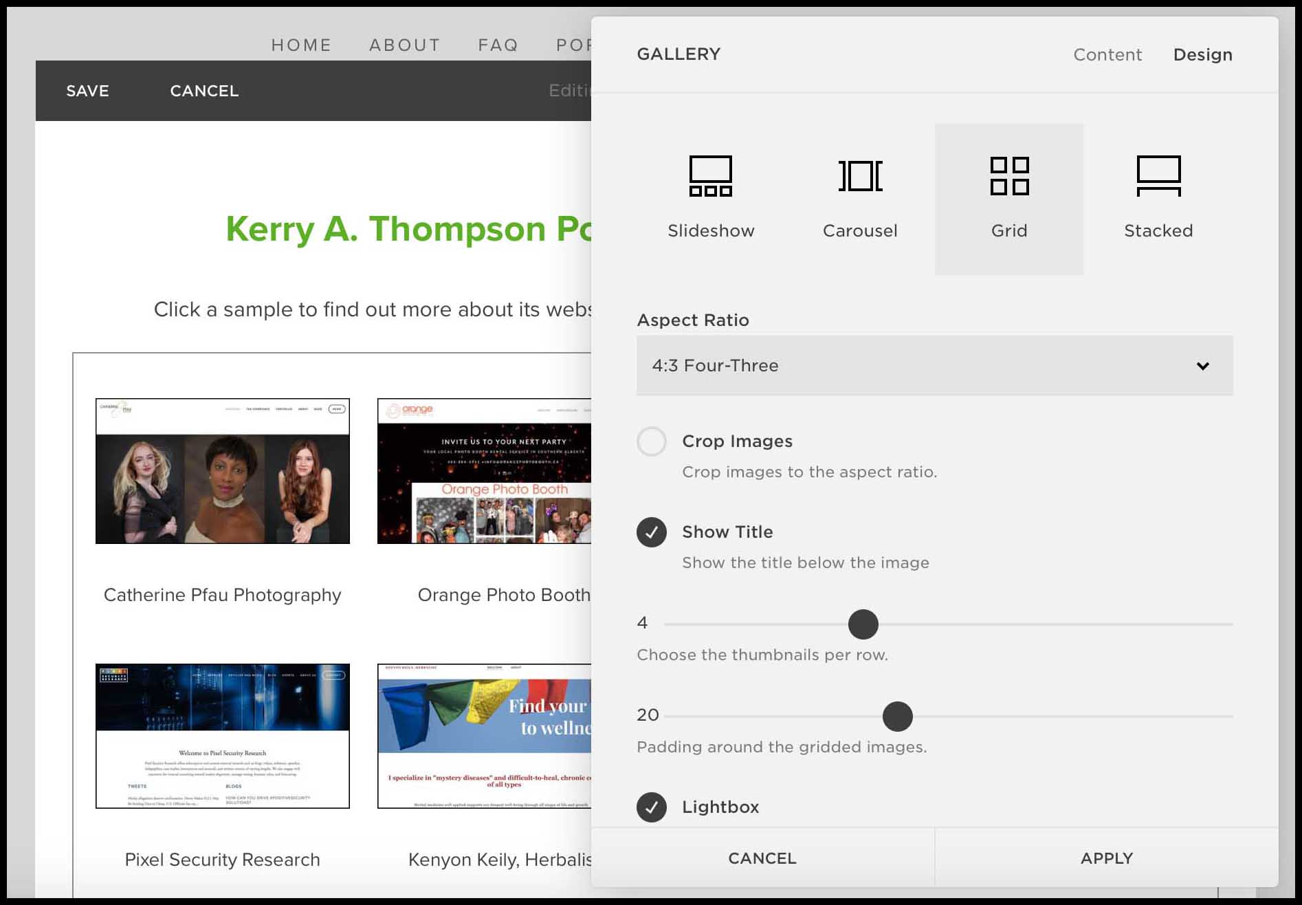 KerryAThompson.com Blog: Portfolio Makeover, Grid-style gallery block