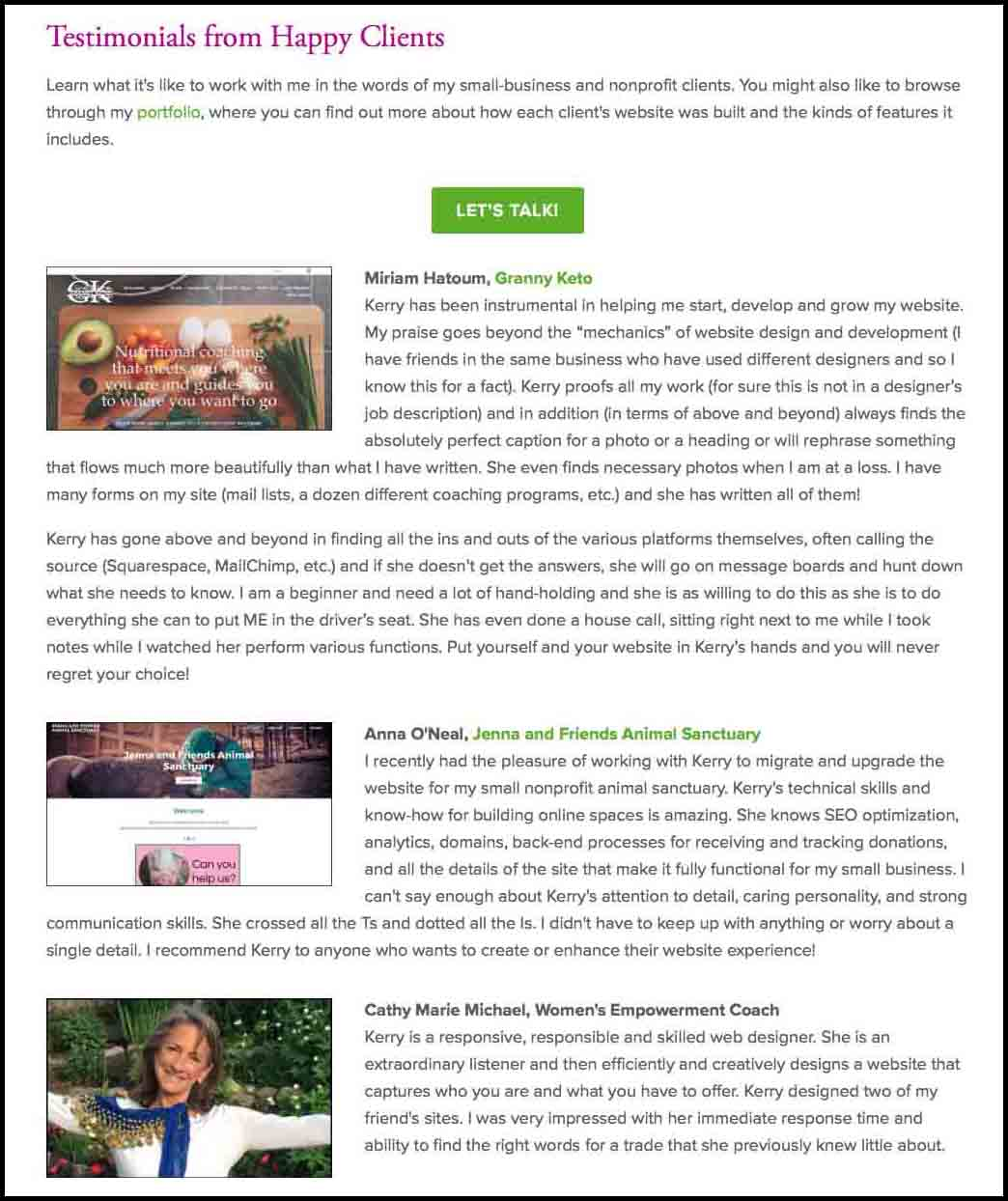 Kerry A. Thompson Blog: Adding testimonials to your website is important