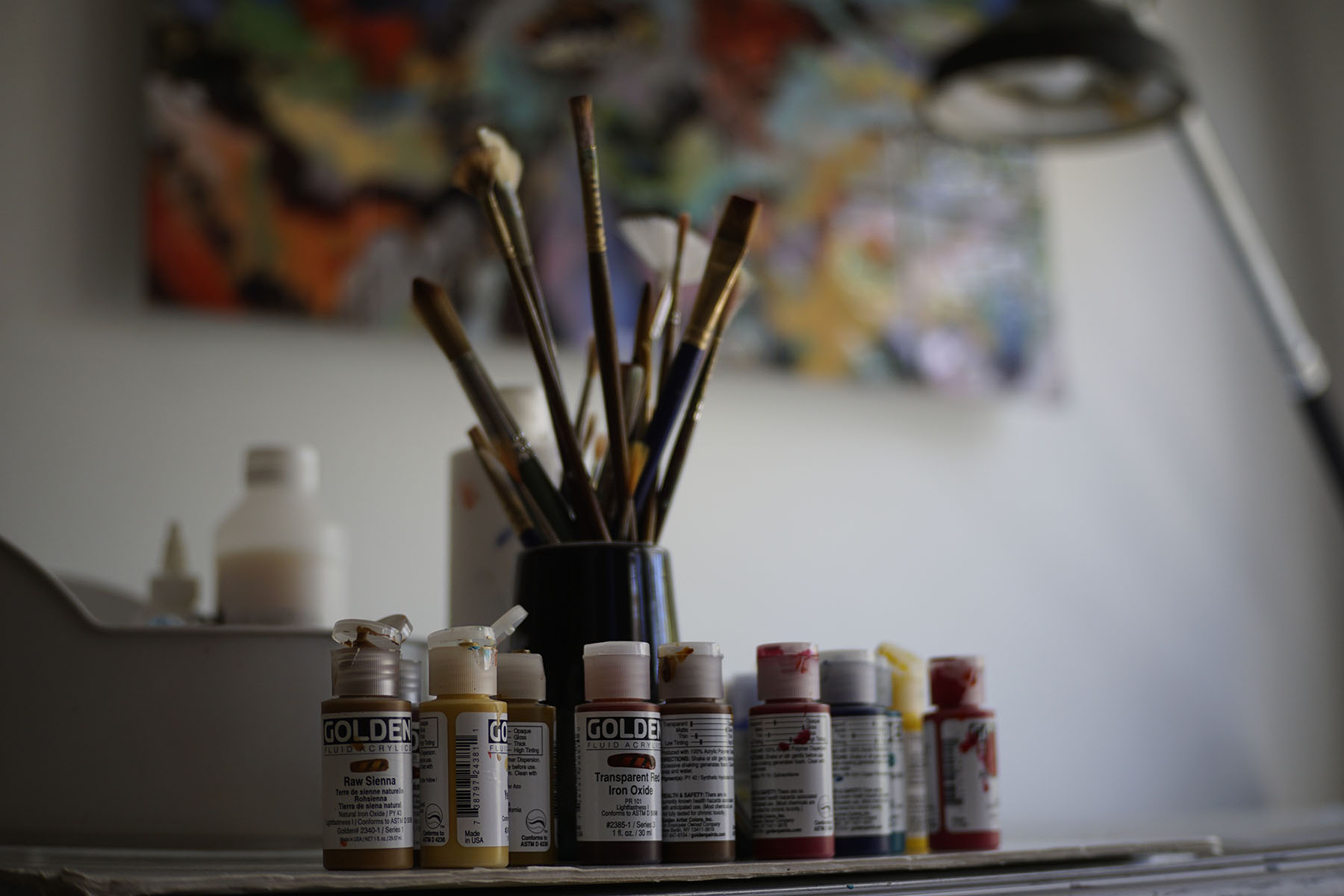 artist truong buu giam desk brushes