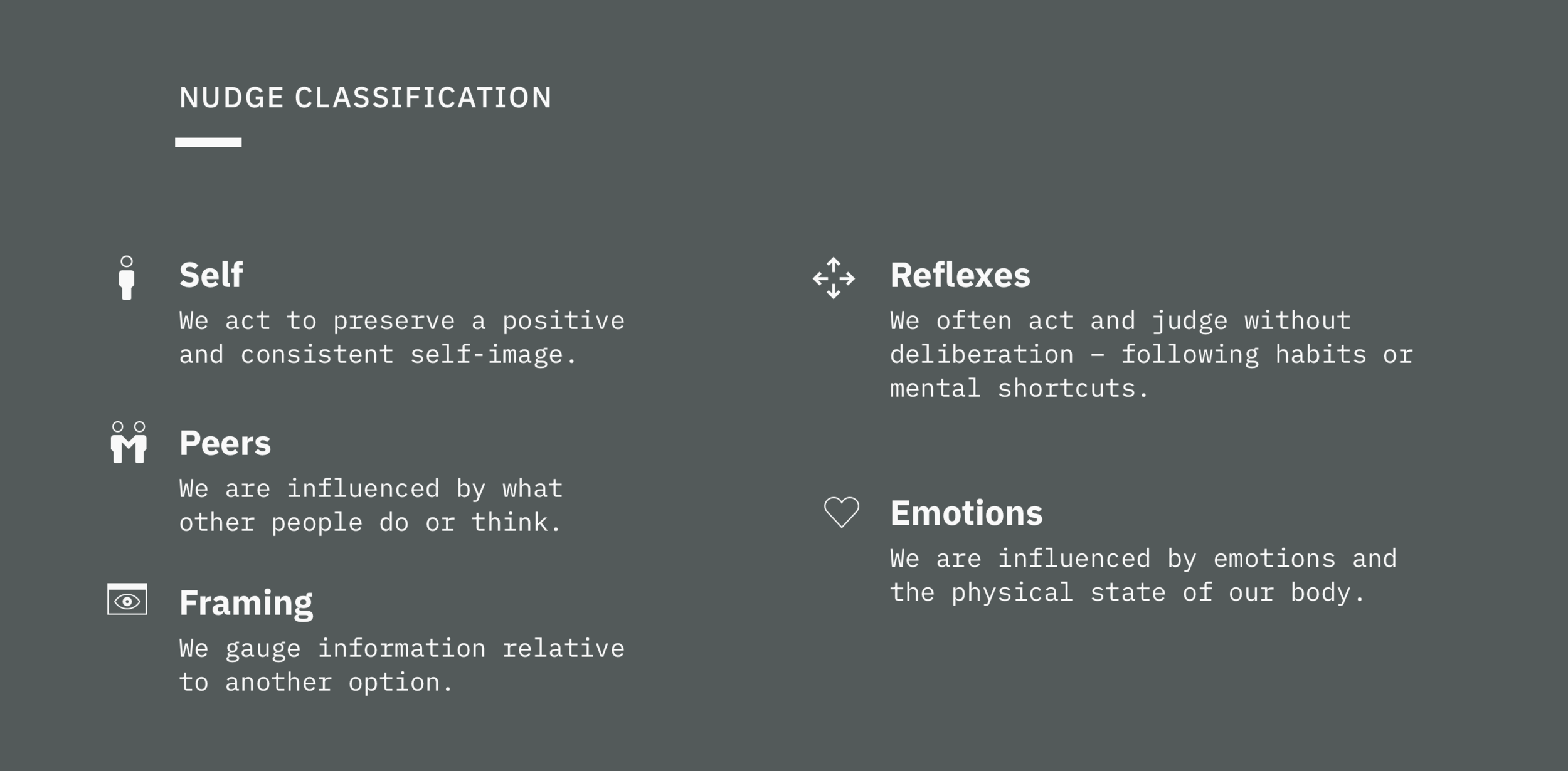 Classifications - Nudges can be placed in different categories of human behavior. We act to preserve a certain image, gauge information relative to our environment, make judgements according to our ingrained habits, or our emotions. You can filter the library by these categories to find the right nudge you want to use.