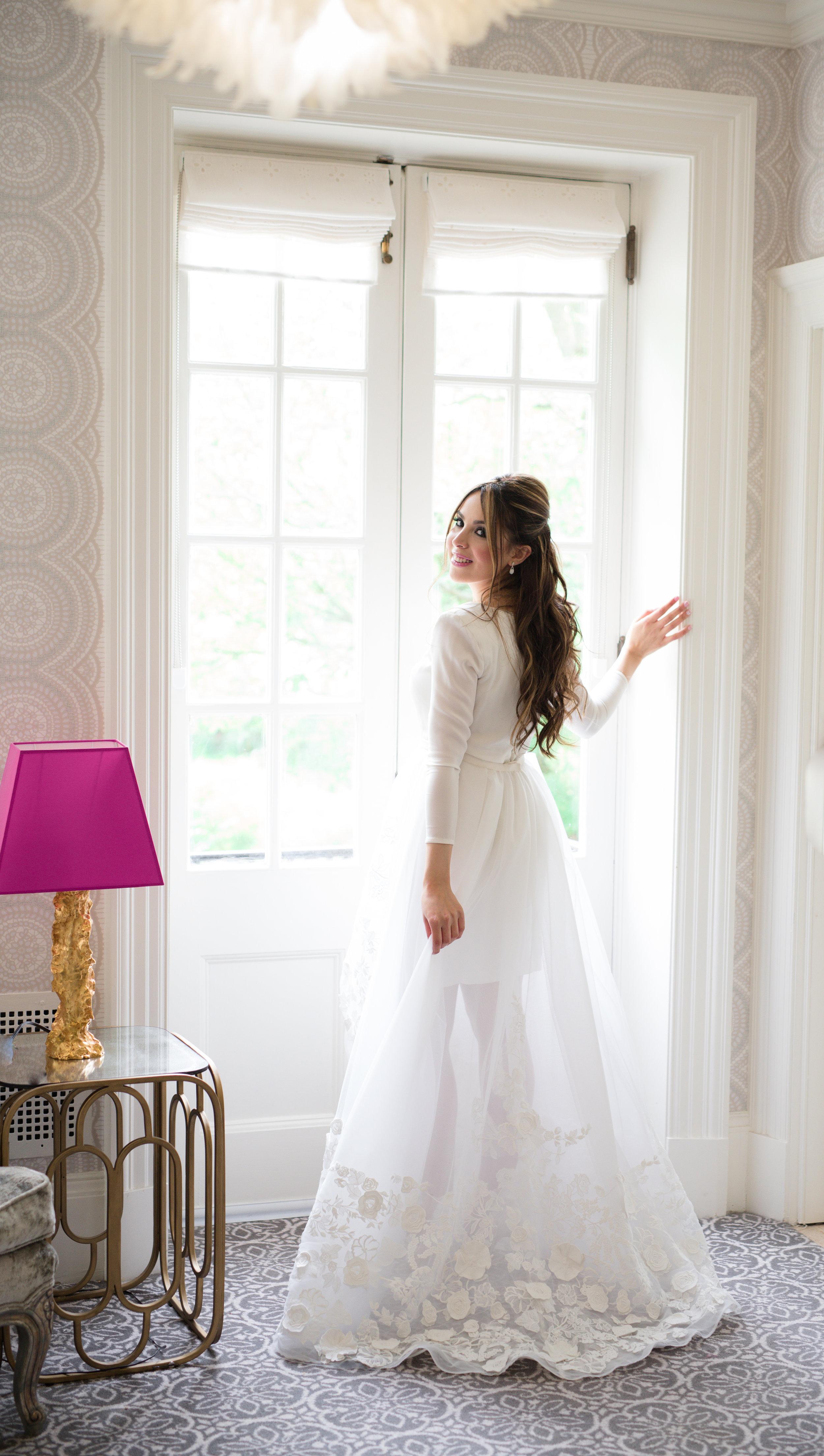 Wedding Photography Toronto of bride dress back Graydon Hall