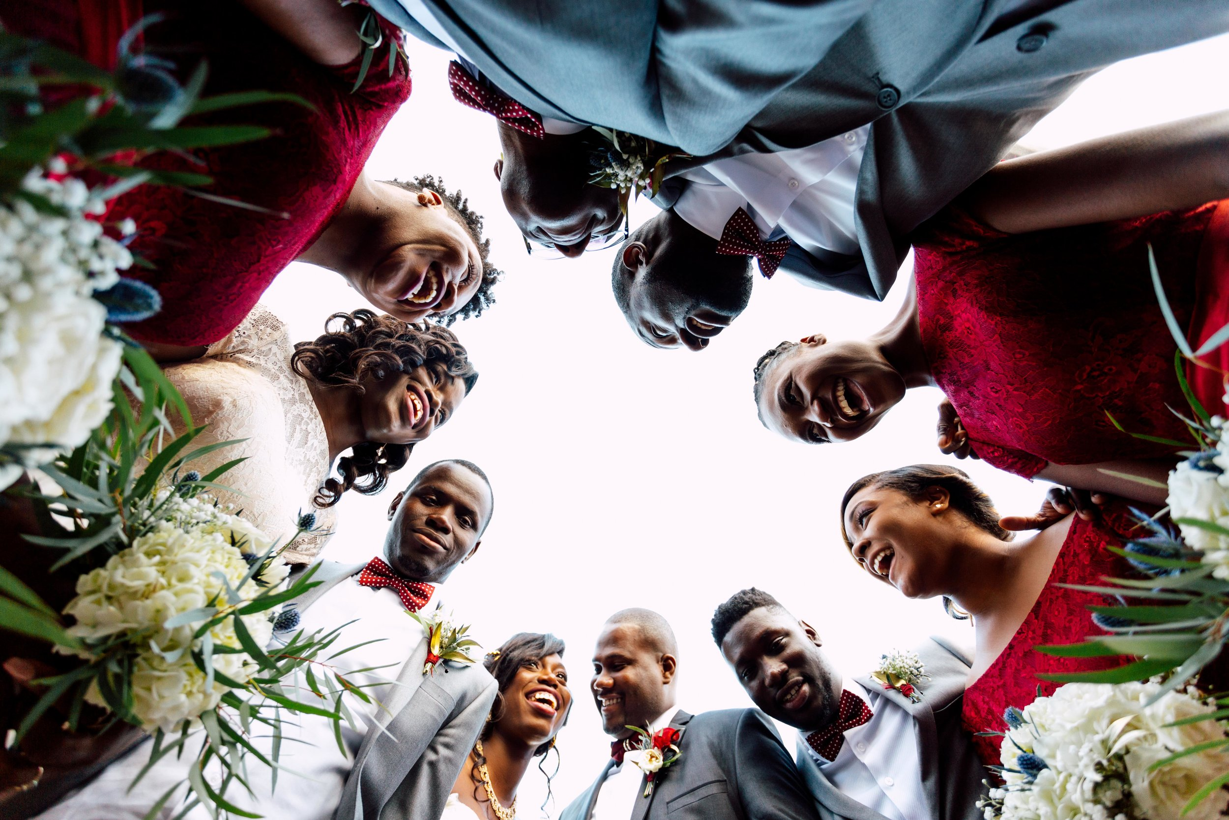 Wedding photograph from above in toronto