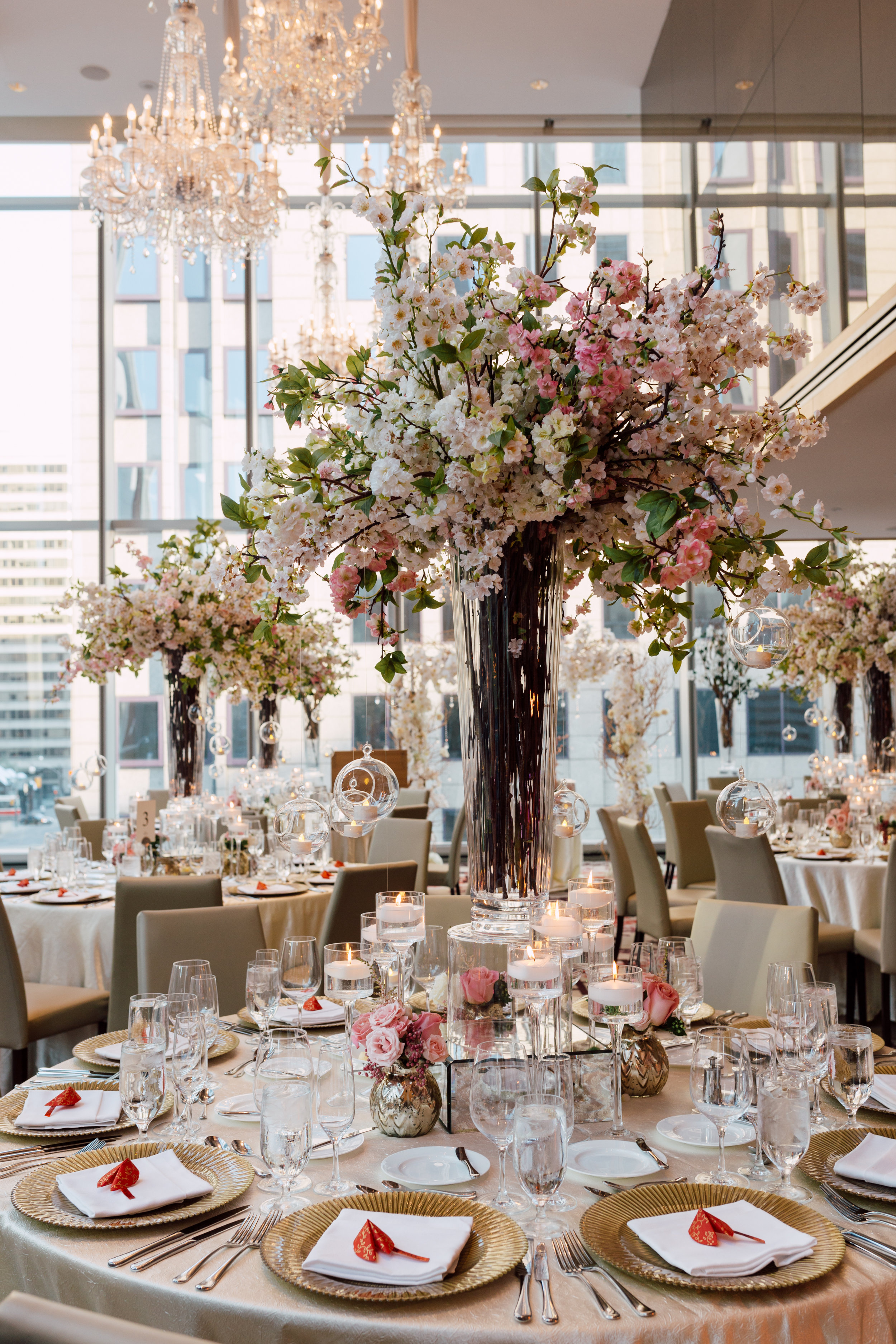 Special event at shangri la toronto of flowers on table