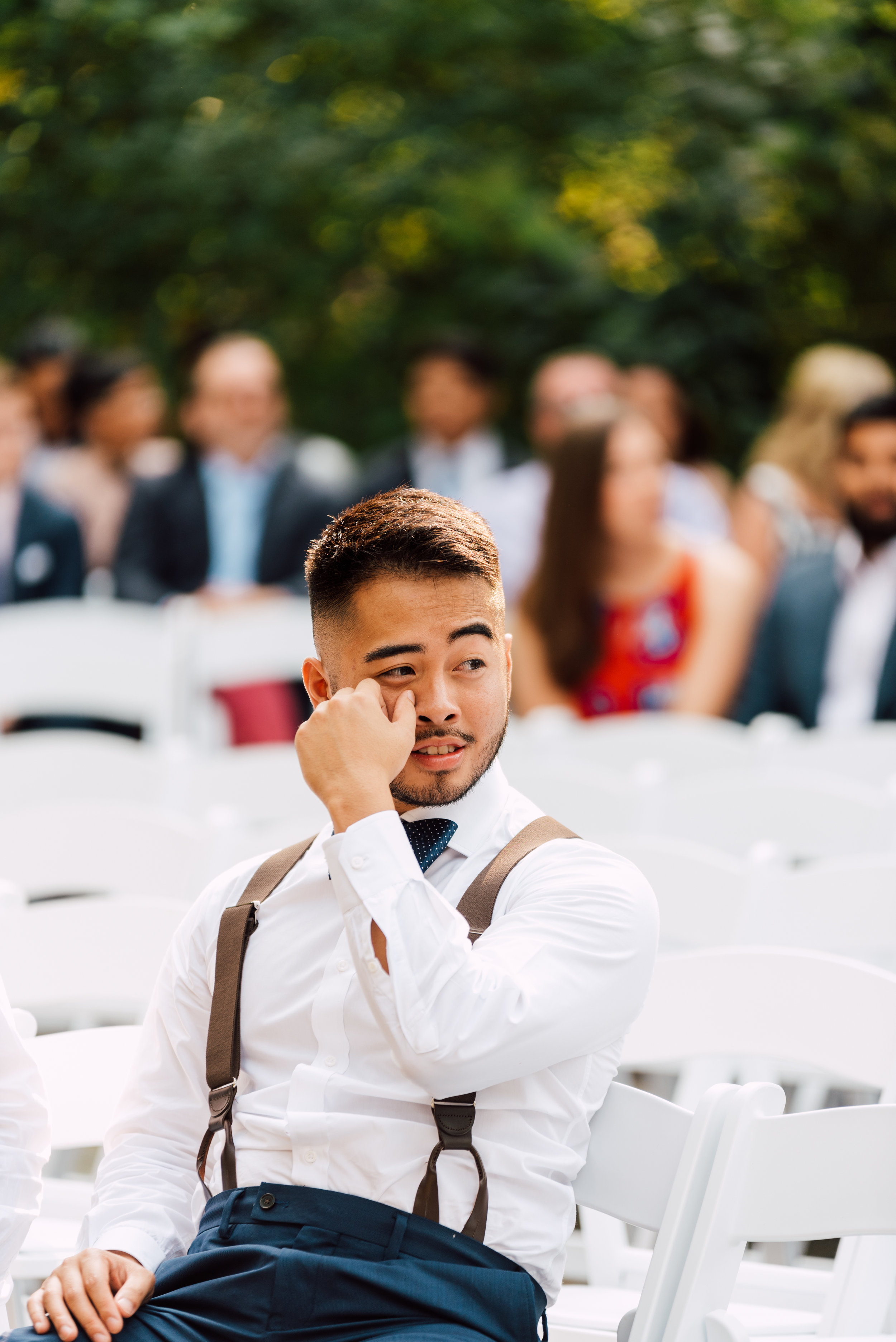 Guy crying at a greenhouse wedding in toronto