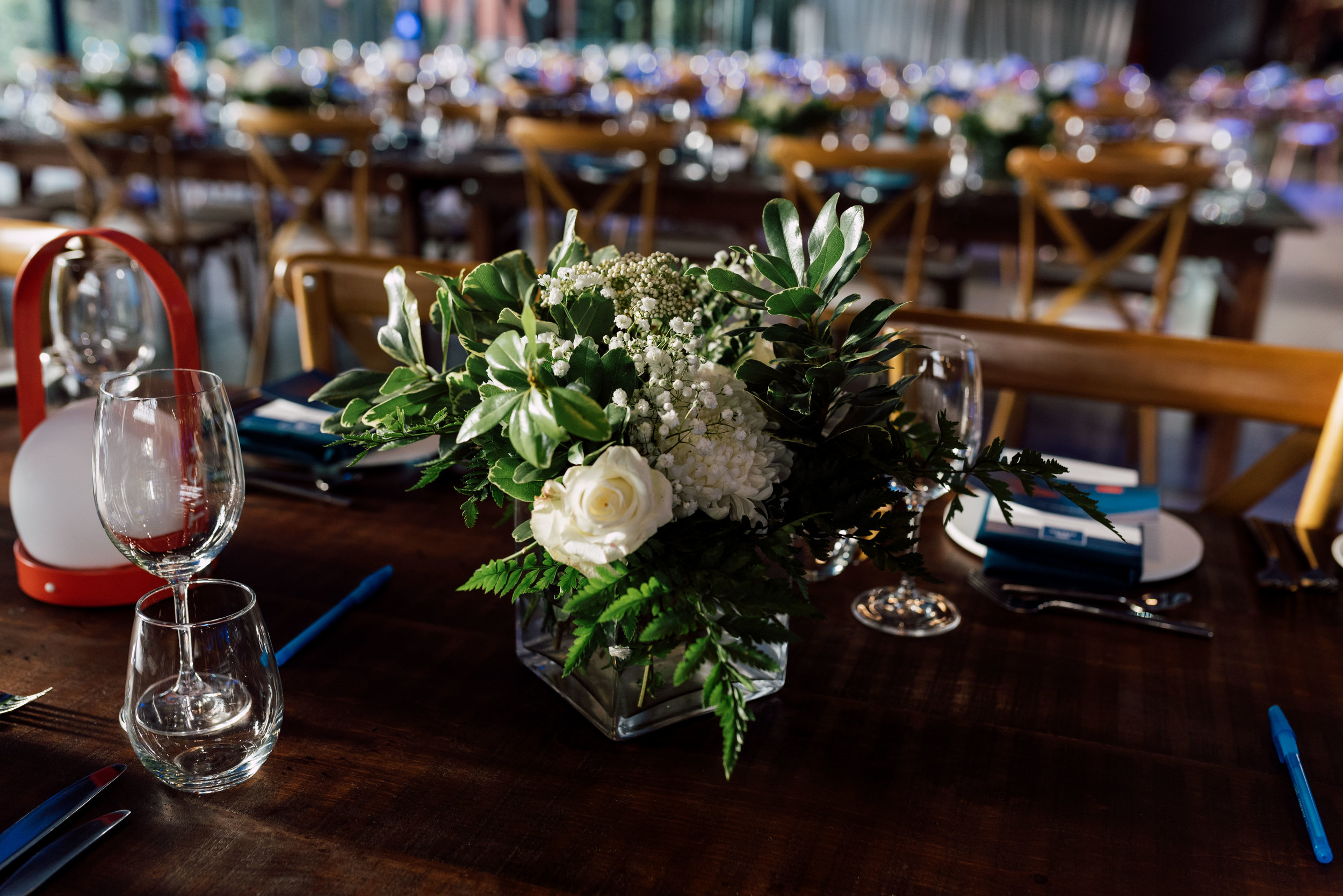 Bouquet on table at Evergreen Brick Works wedding