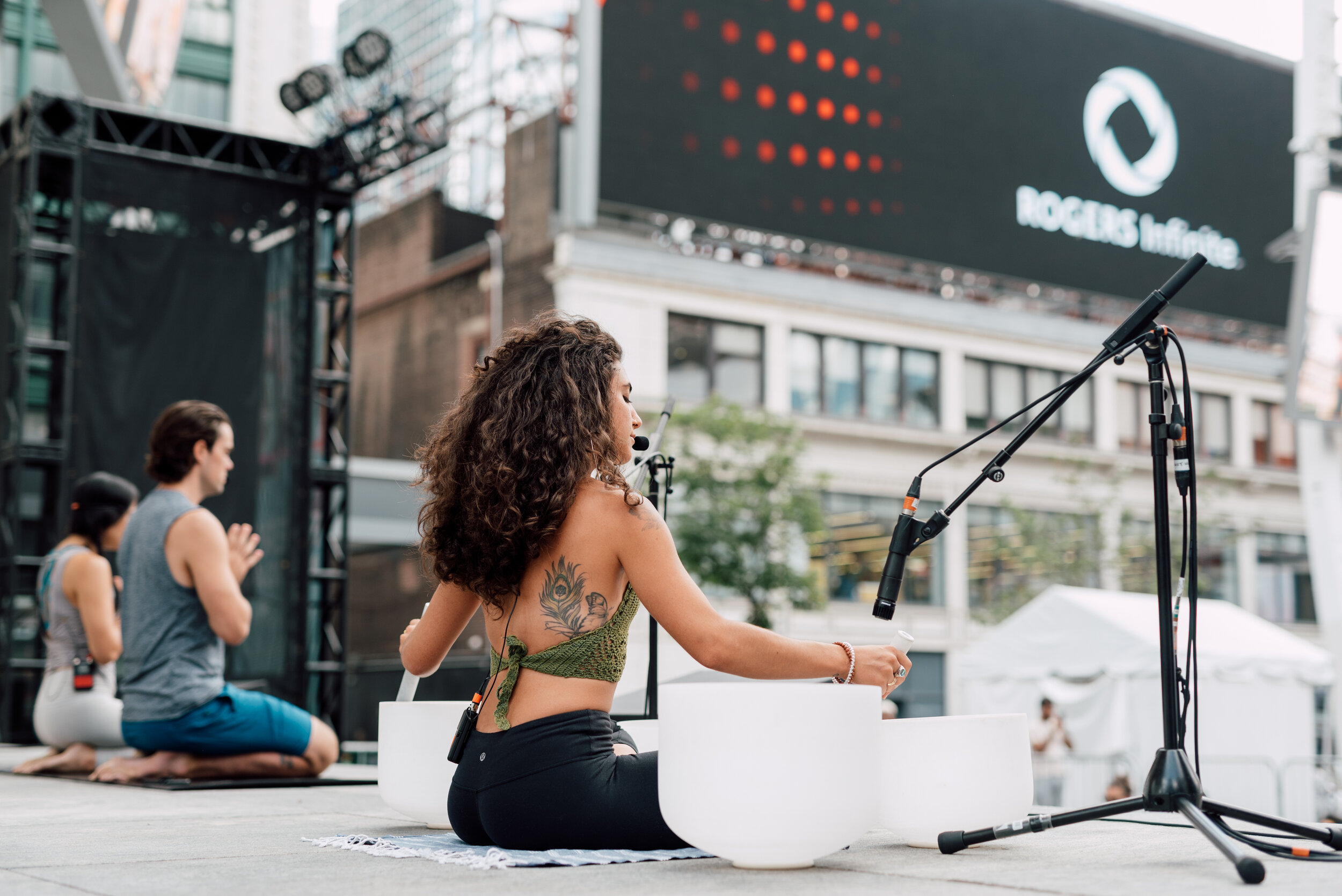 Theonlyalexandria performing Sound bath and Yoga at Dundas Square