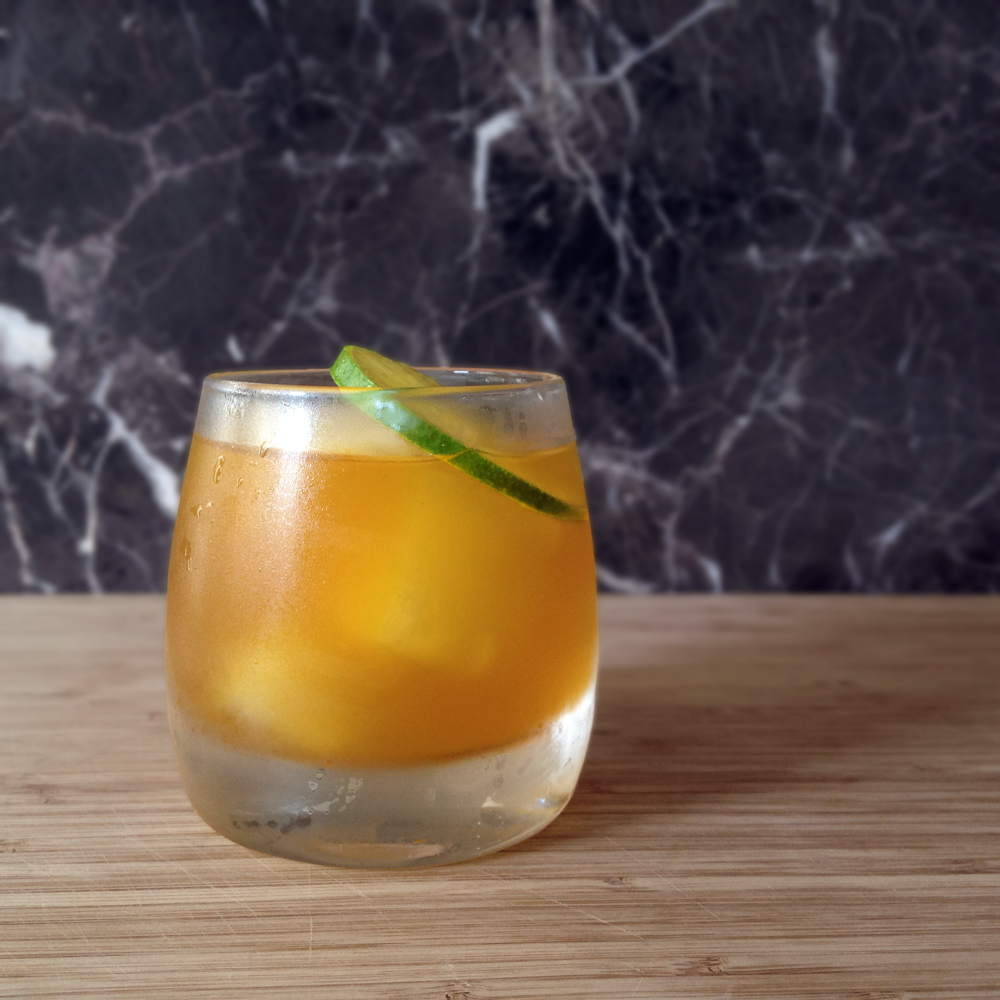 Bees Knees    2 oz  Union Gin  ¼ oz  Gifford Apricot Cordial  ½ oz    Pearl Beverage Co.       Lime Twist Tea Syrup     1 dropper  of Bee Local Bitters from Roots and Crowns or a dash of bitters  ¾ oz  Lime Juice  ½ oz  pineapple foam Pour over ice into a collins or rocks glass (8-12 oz) Garnish with a wedge of lime