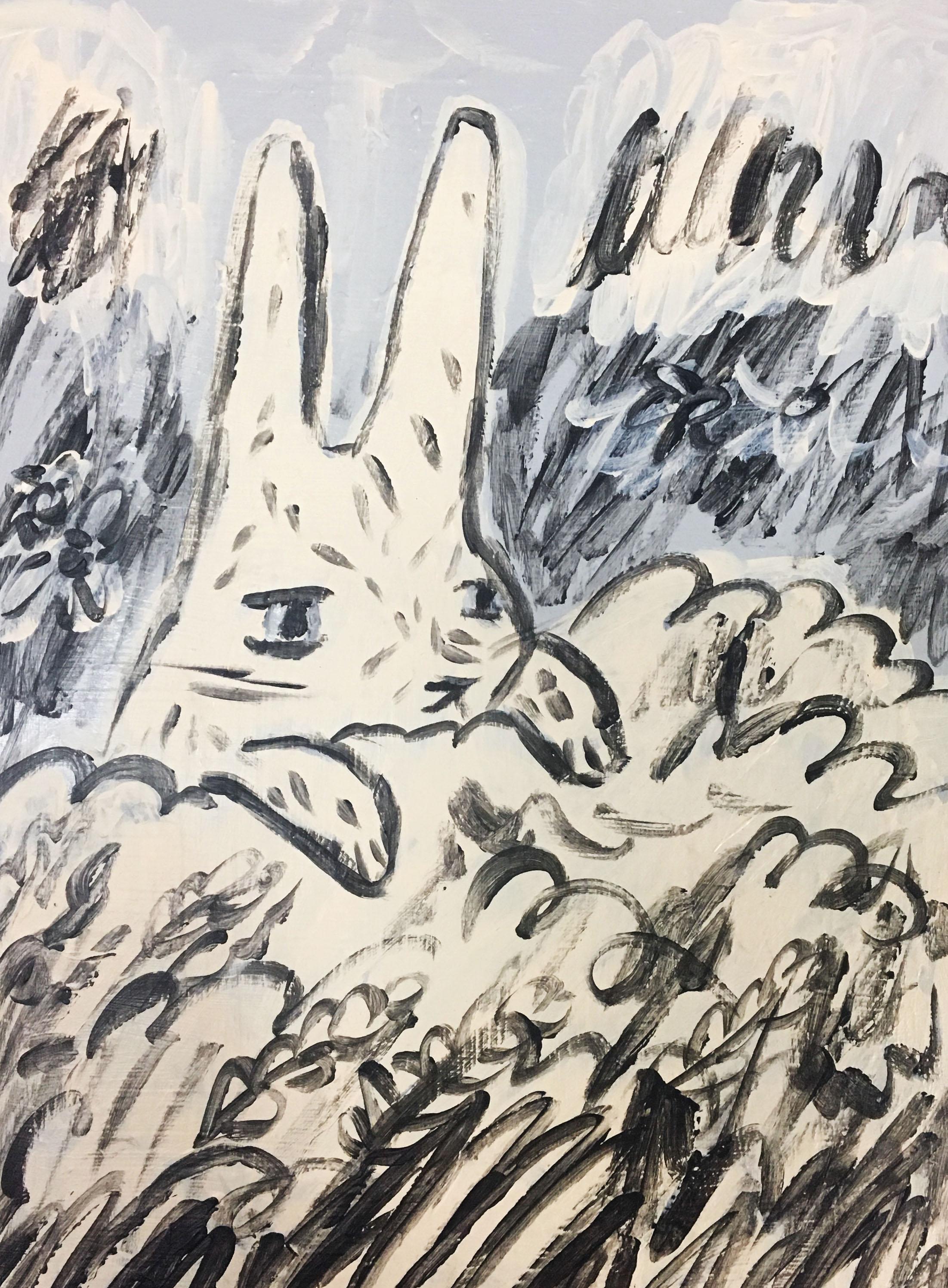 Garden Bunny Acrylic Painting on Wood Panel  $400