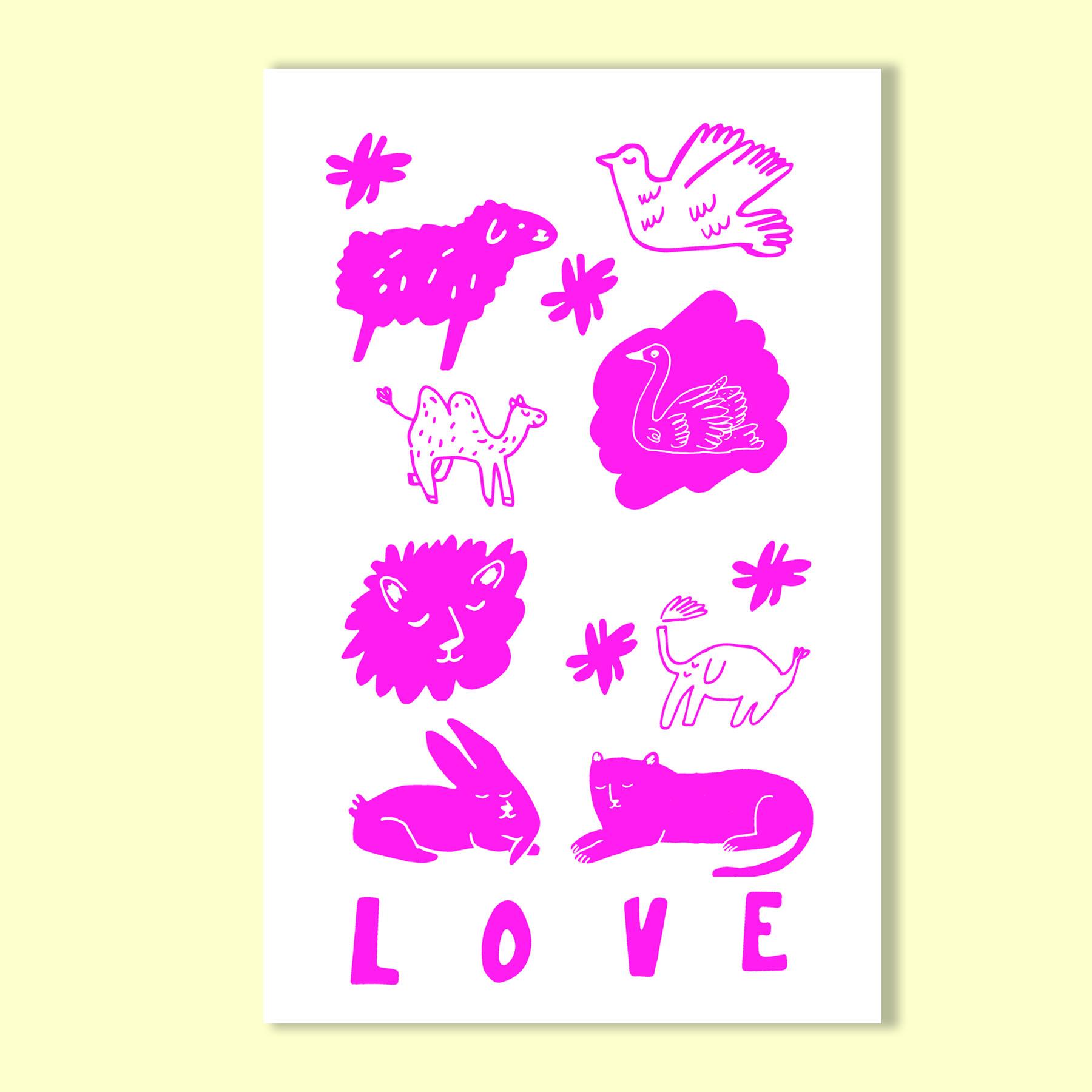 Love 11 X17 Risograph Print $30