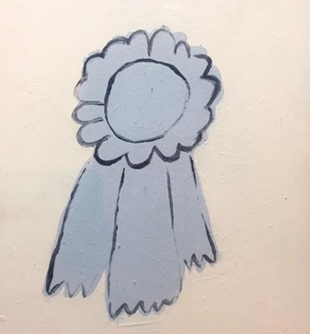 Blue Ribbon Acrylic Painting on Wood Panel  $225