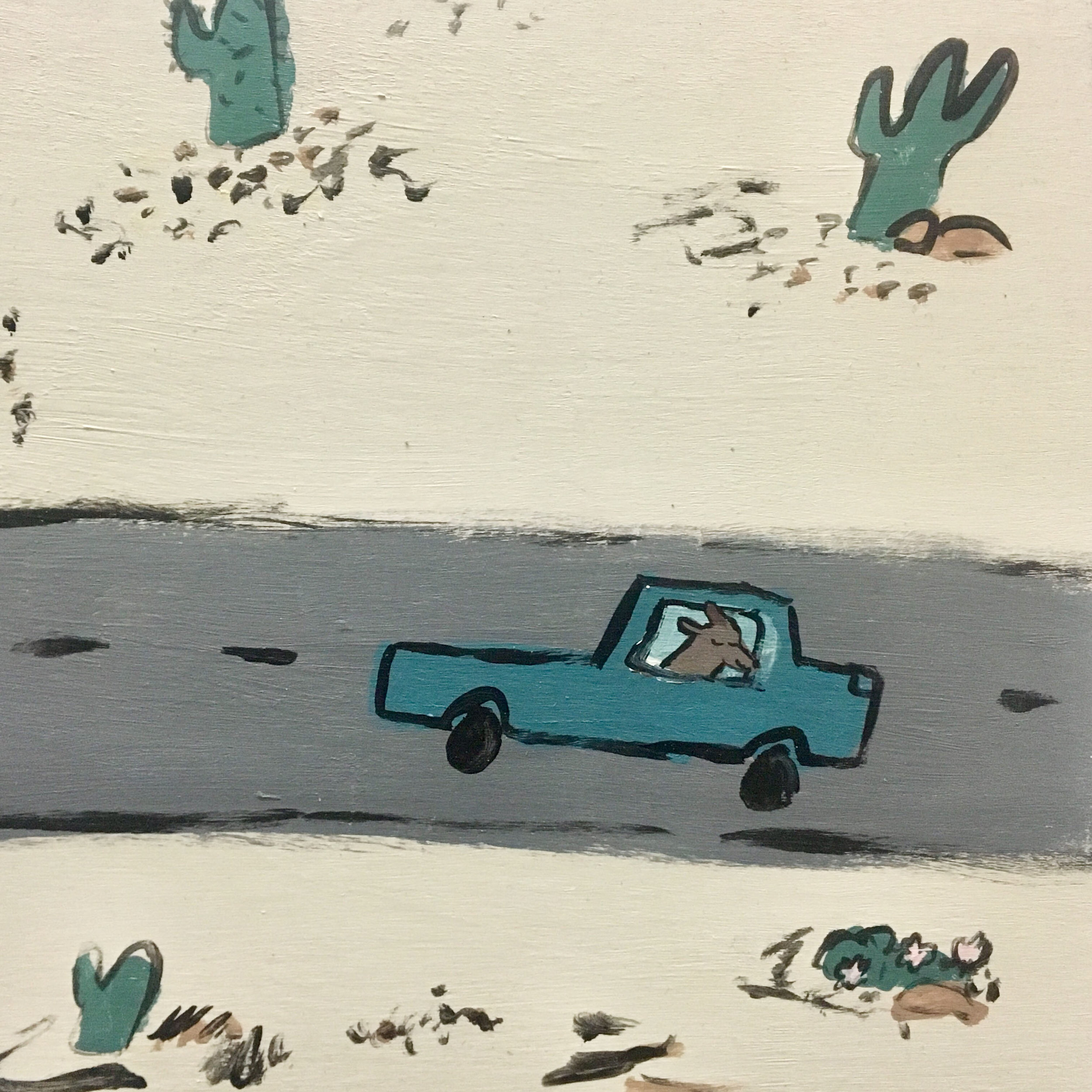 Road Trip Acrylic Painting on Wood  Panel $400