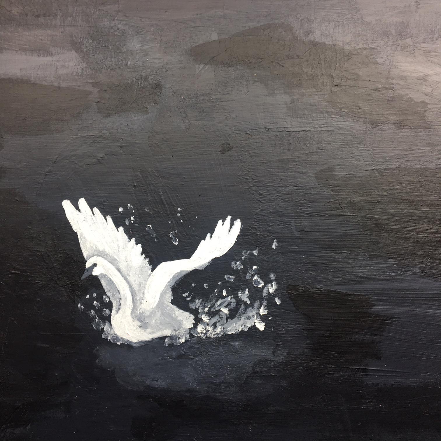 Midnight Swan Acrylic on Wood Panel $400