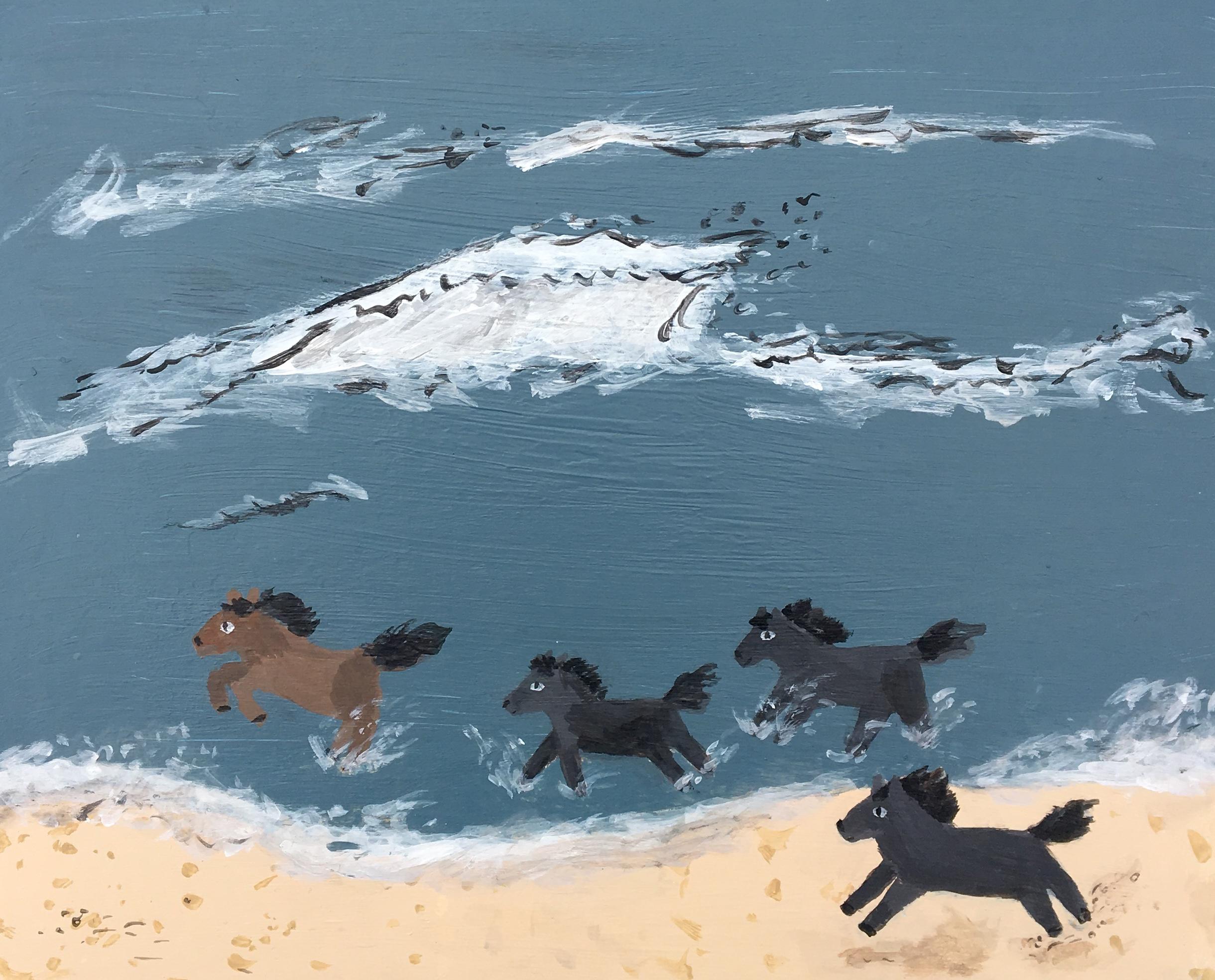 Wild Horses Acrylic Painting on Wood Panel $400
