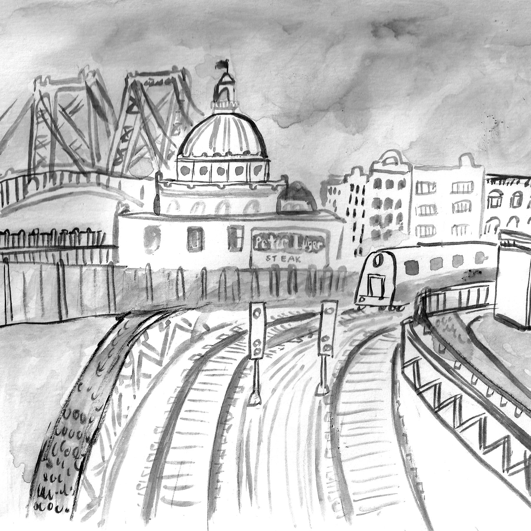 Williamsburg Bridge 8X10 Ink Drawing $400