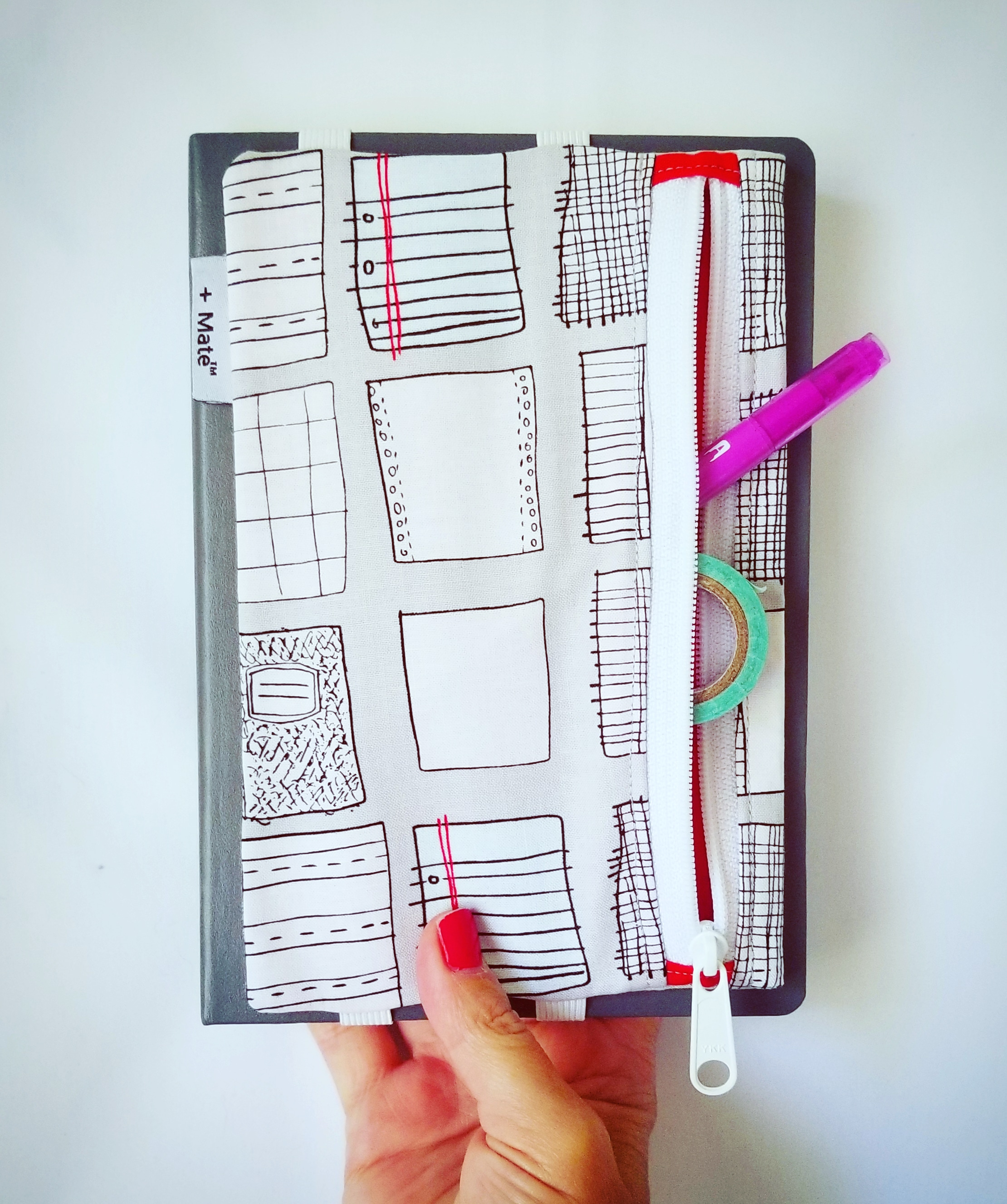 mini. much smaller than normal. - For the pocket sized journals, planners, and notebooks. Organization with a side zip.
