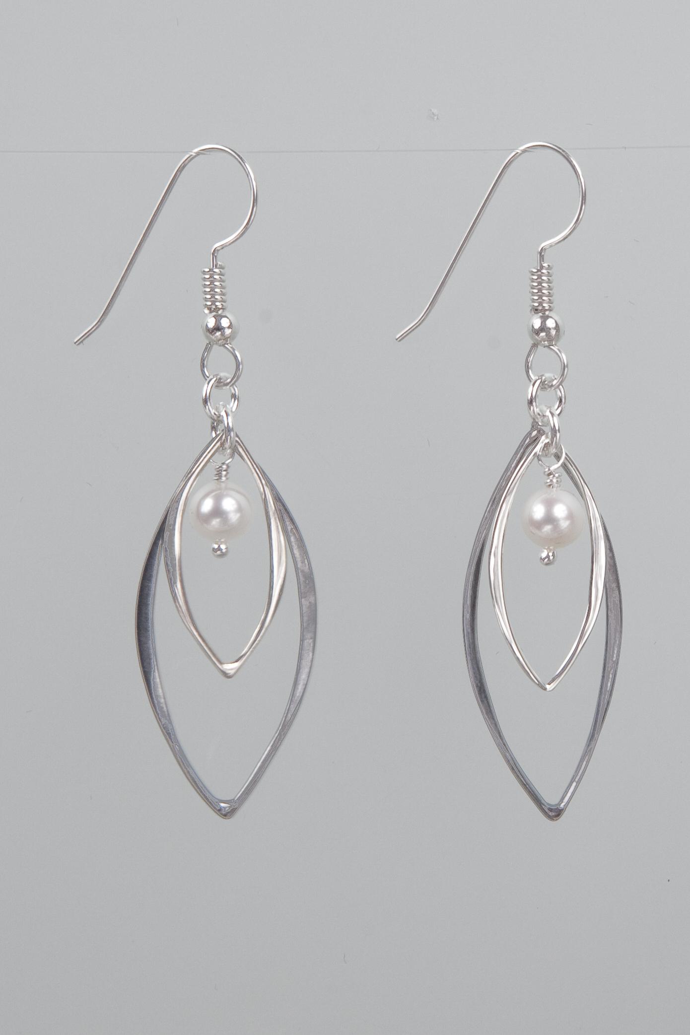 Silver marquis earrings