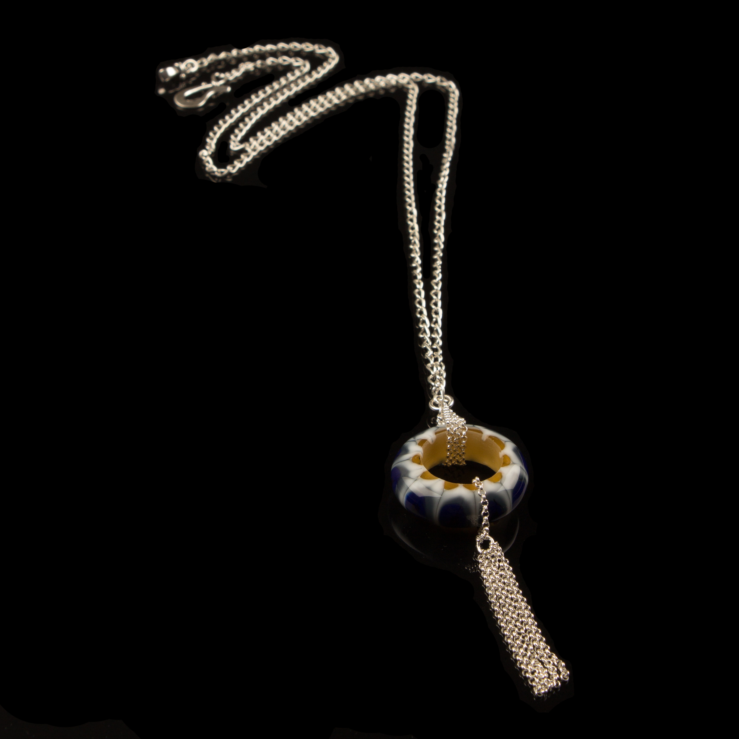 Hand made disc glass pendant necklace