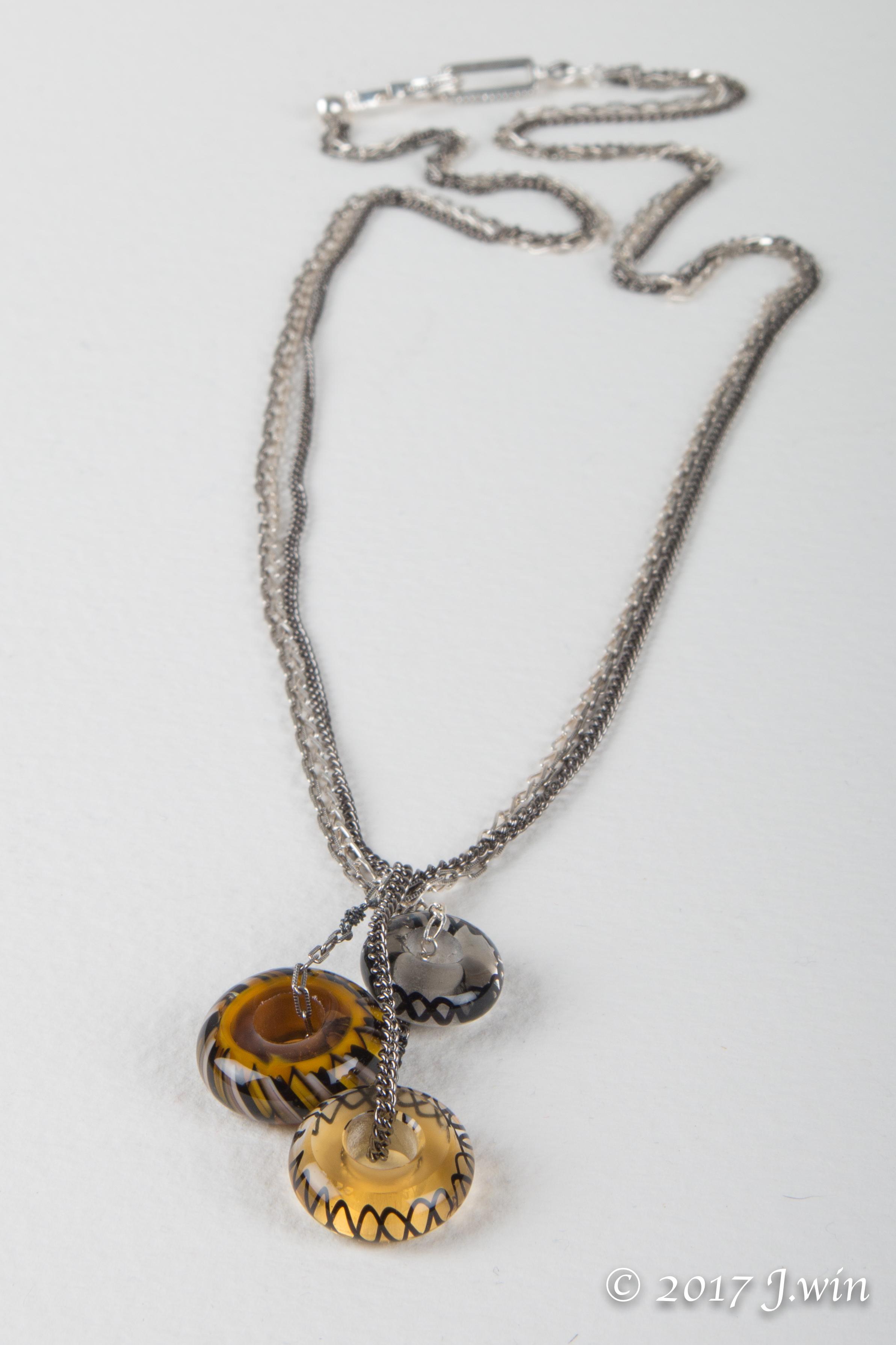 Triple Glass pendant necklace