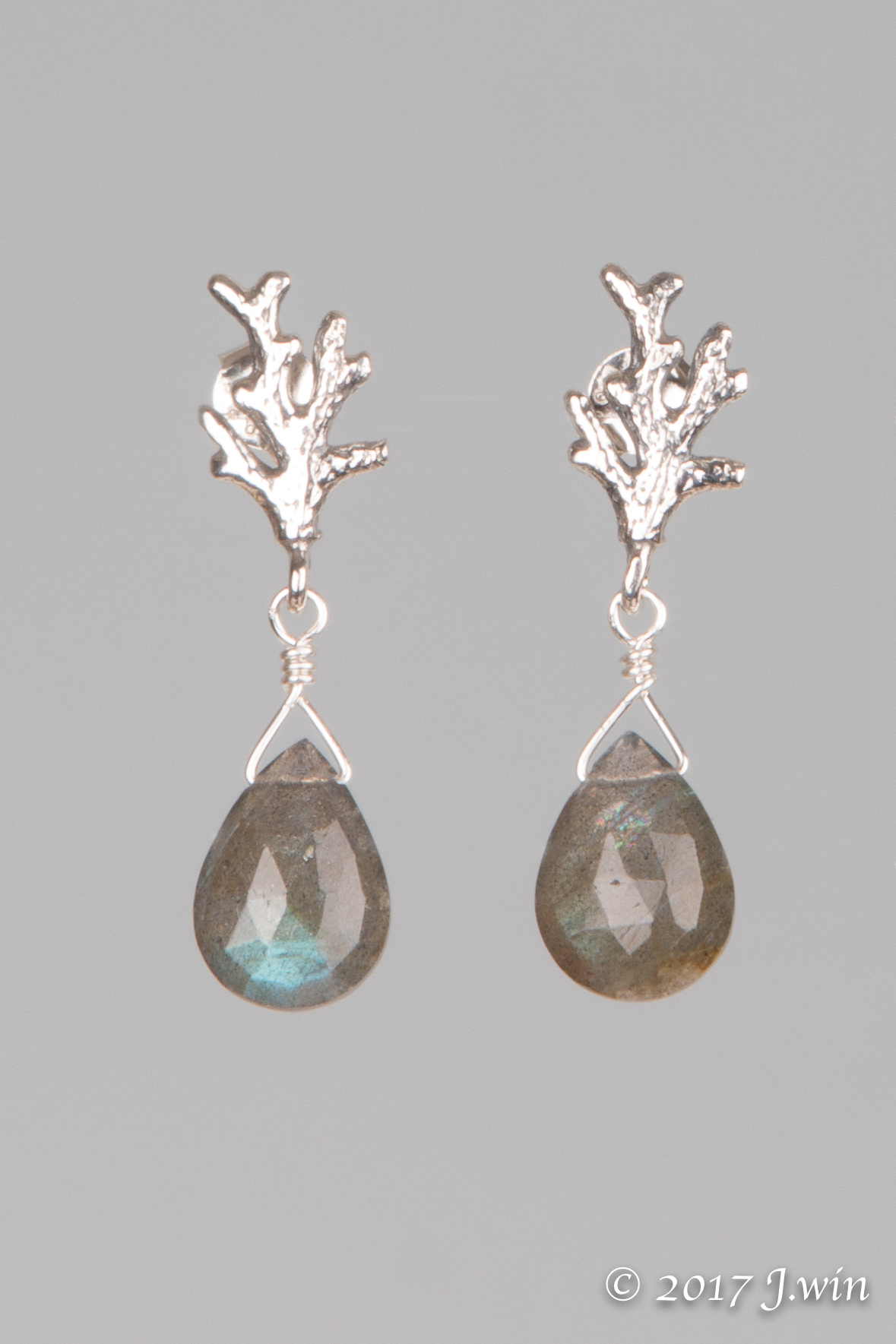 Labradorite and silver coral earrings