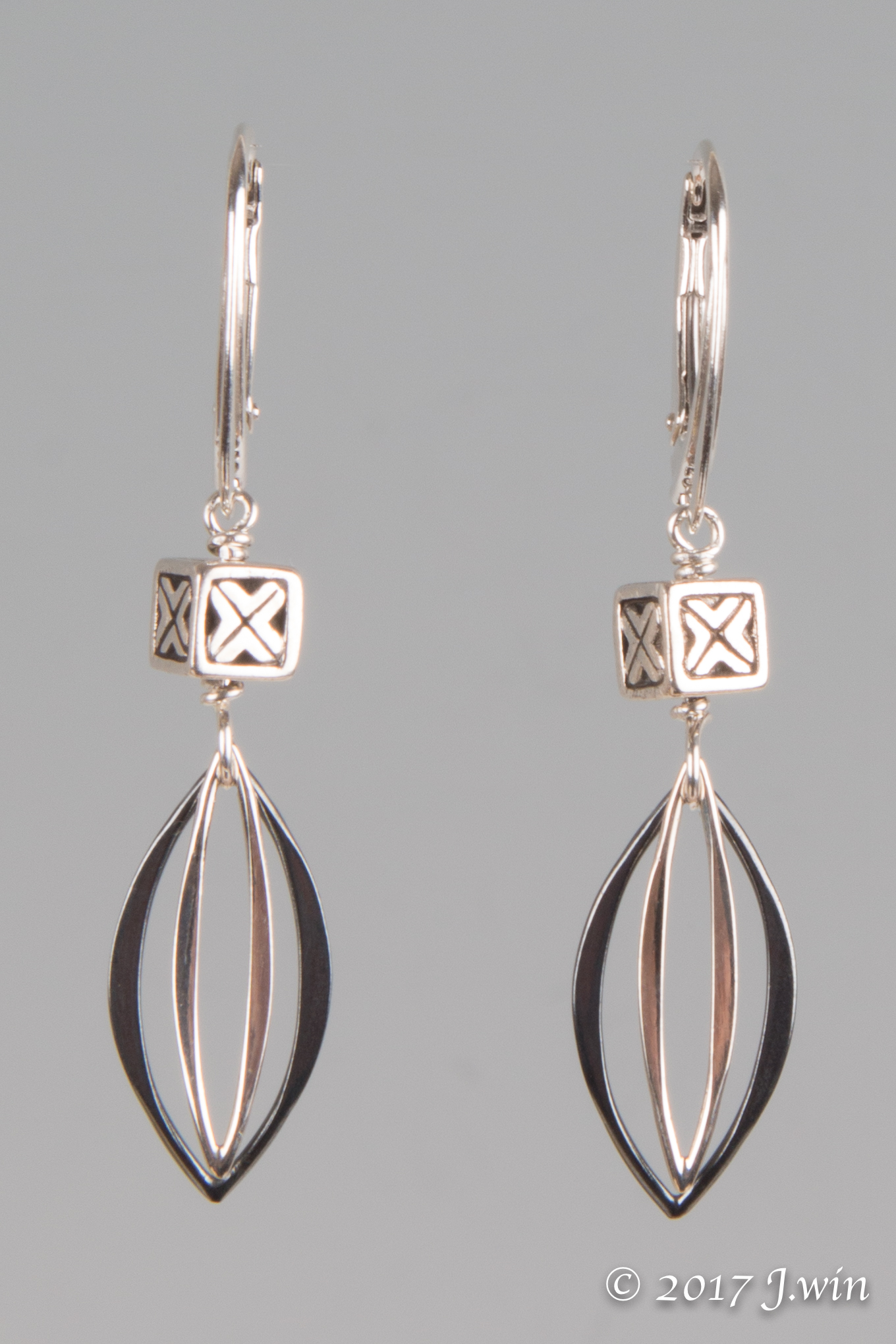 Sterling silver marquis earrings