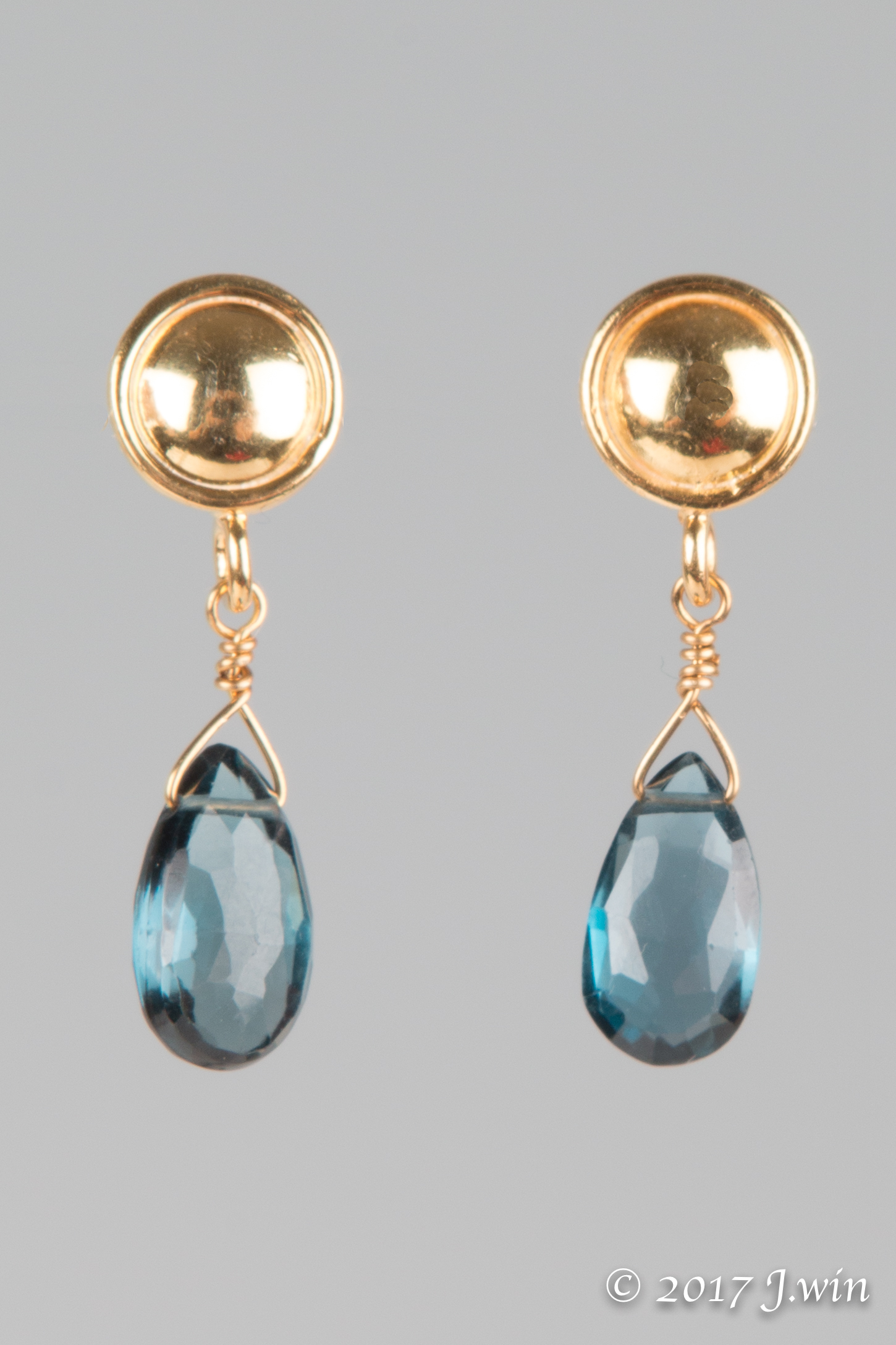 London Blue Topaz and gold earrings