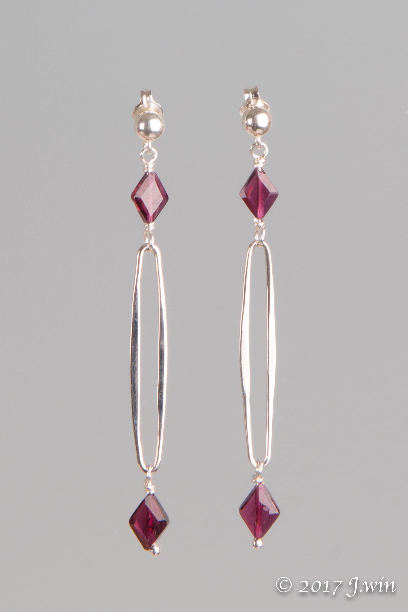 Long loop garnet earrings