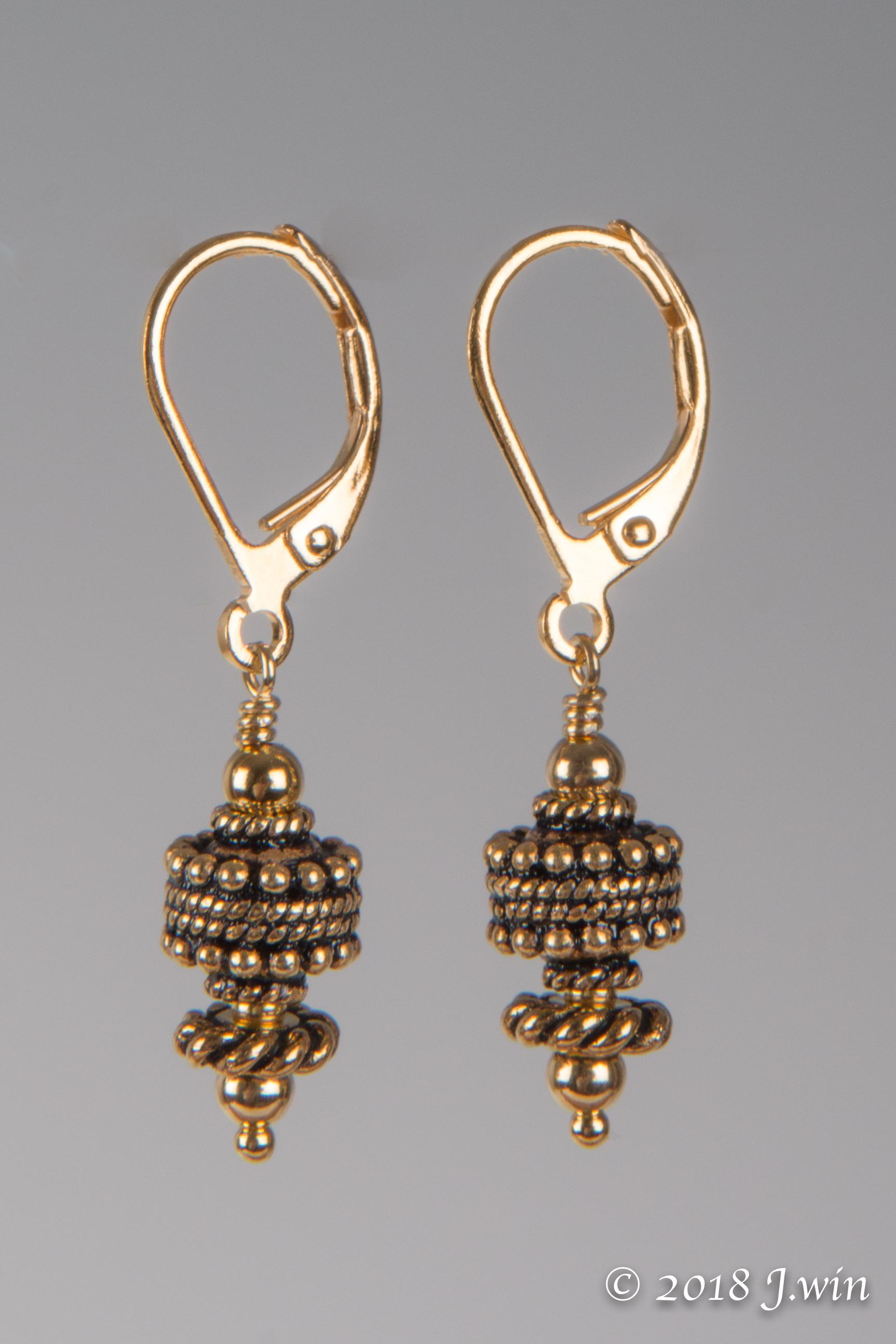 gold lever back earrings