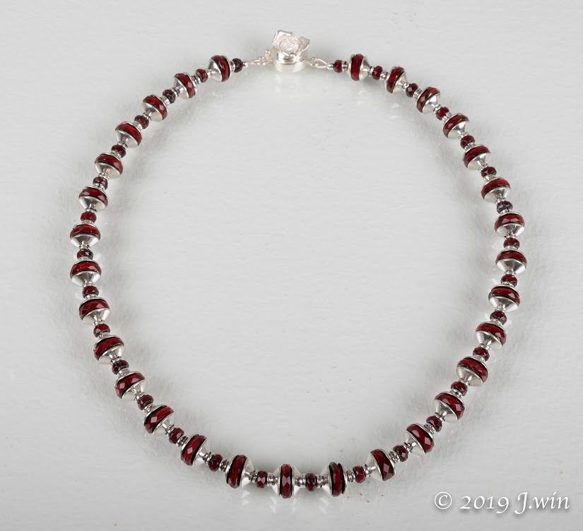 Unique red Czech glass and silver necklace