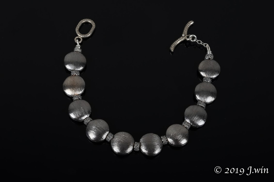 Blackened brushed sterling silver bracelet