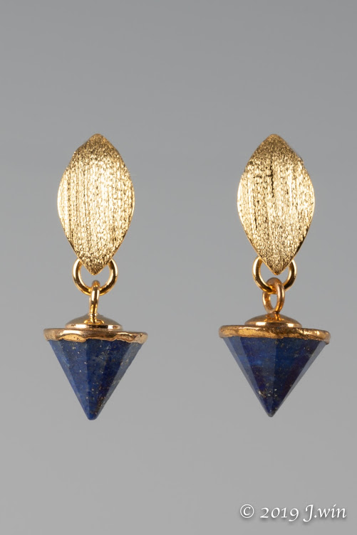 Blue lapis lazuli and gold earrings