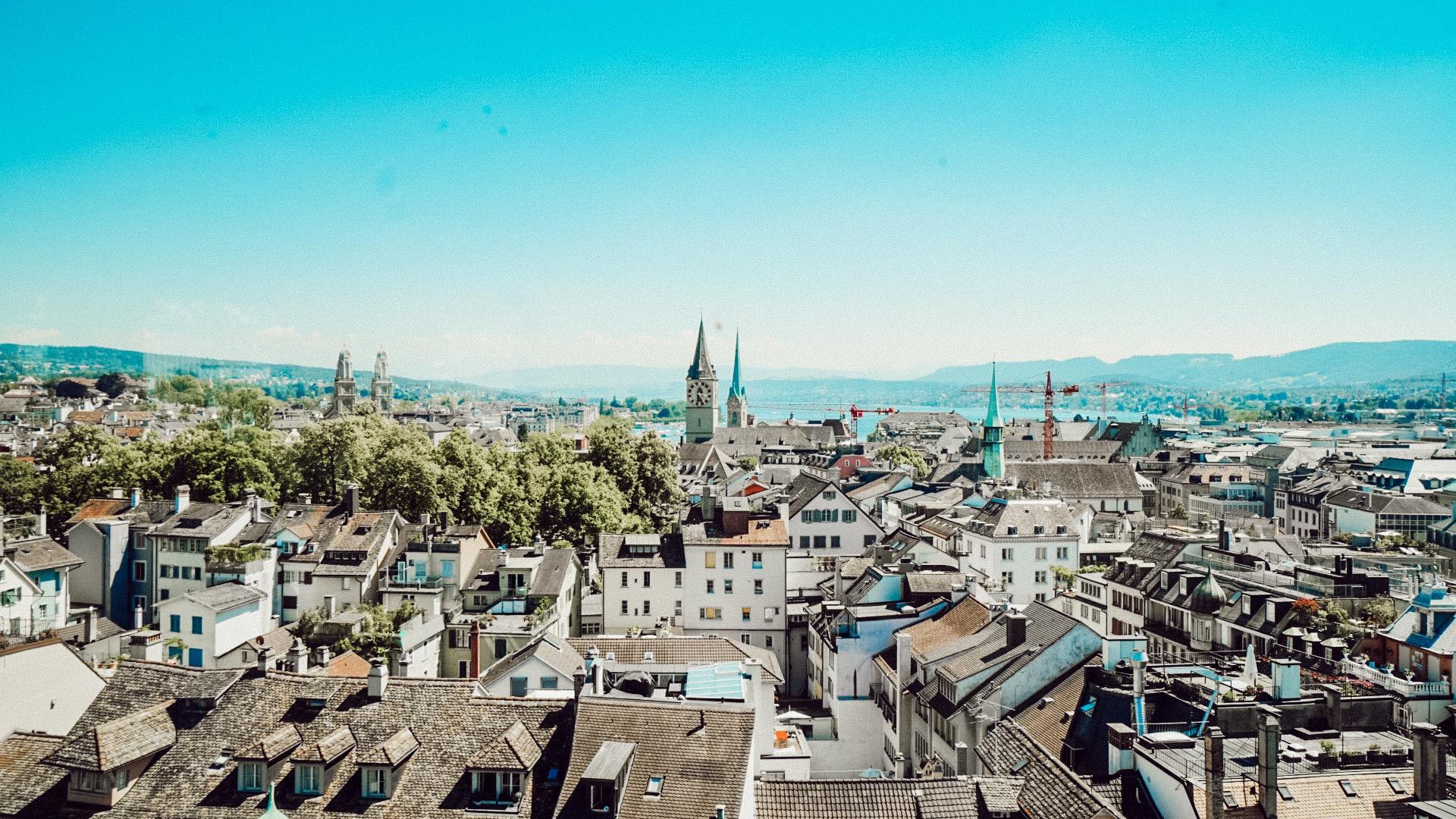 Vista pra Zurique desde o Jules Vernes Panorama Bar