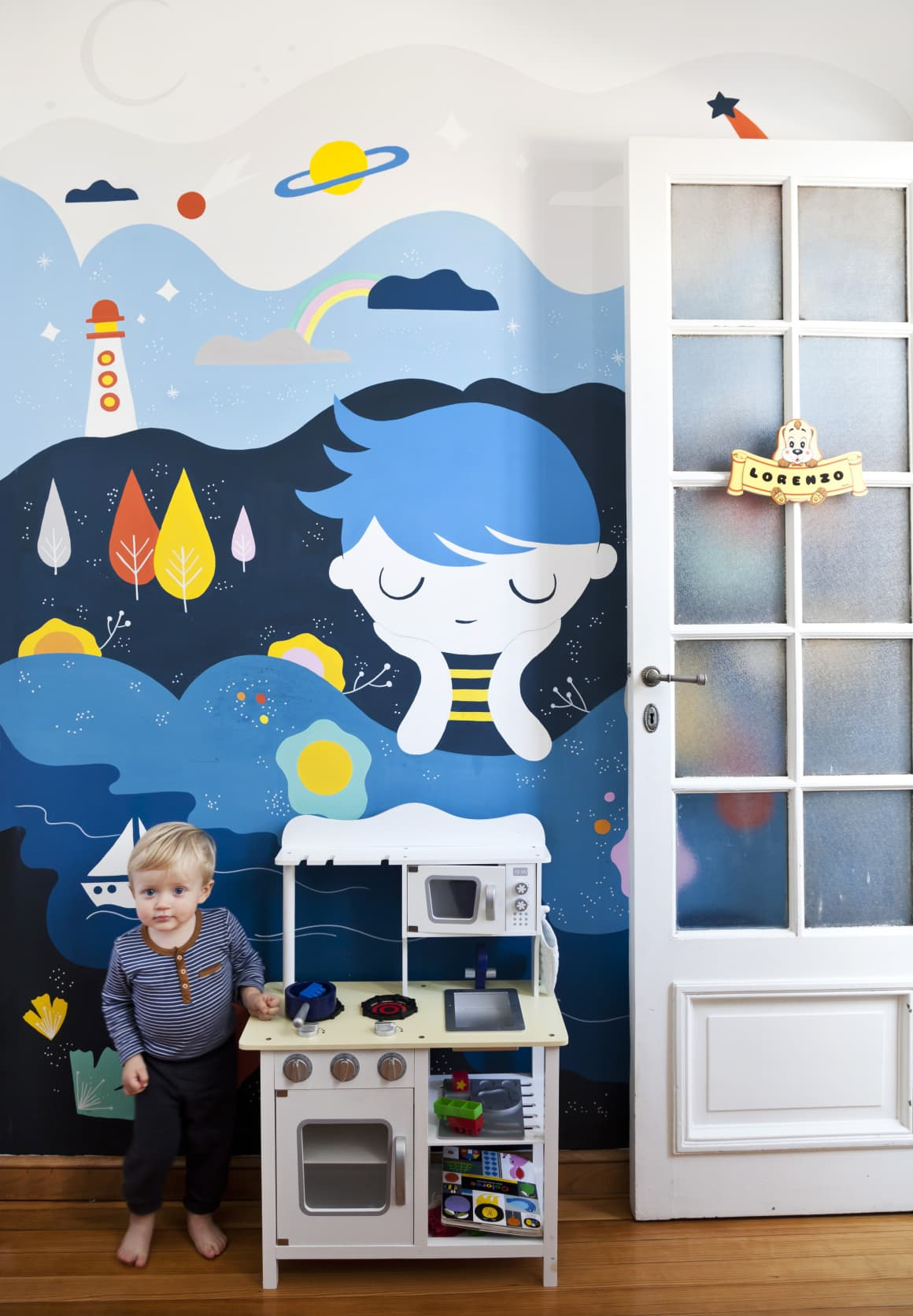 Mural da Pum Pum no quarto do Lolo
