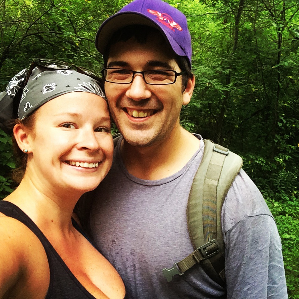 Beth and Aaron at Axldog Acres Disc Golf Course in Summer, 2014.