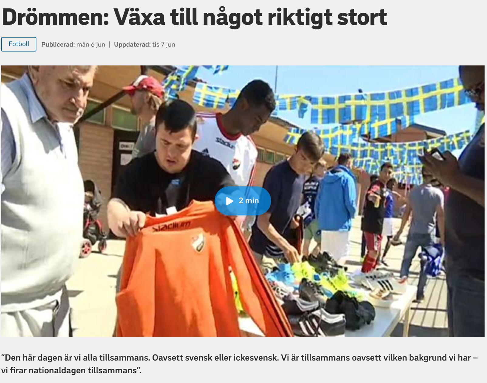 SVT rapporterar om hur Tillsammans Cup kan bli hur stort som helst.