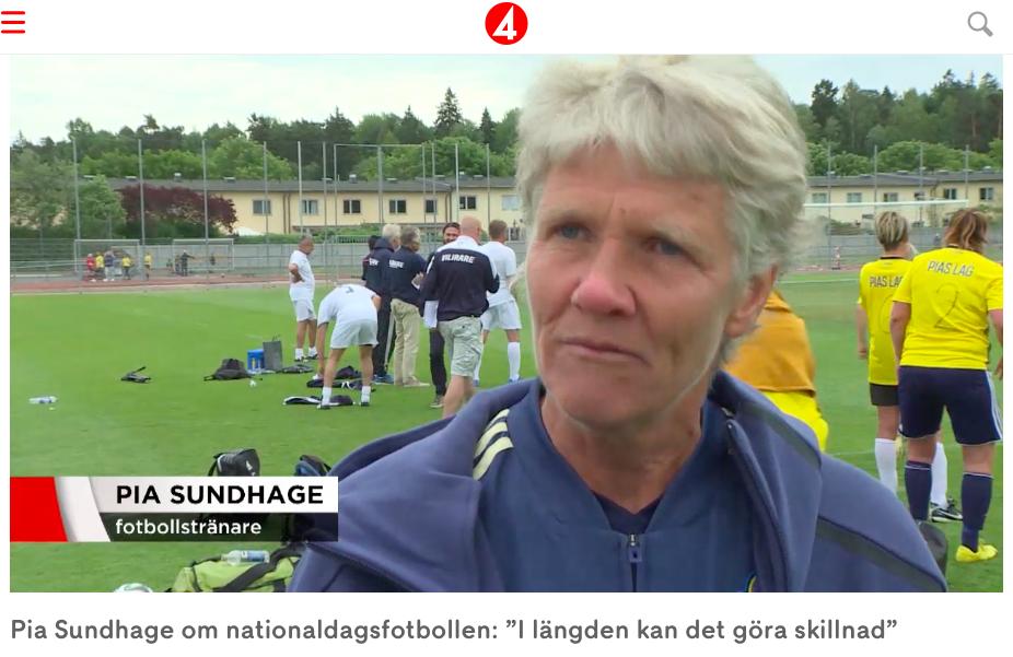 TV4 nyheterna intervjuar Pia Sundhage på Tillsammans Cup 2018