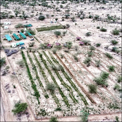 Barefoot's demonstration farm 'Akiro Amana Analaireng' from the air