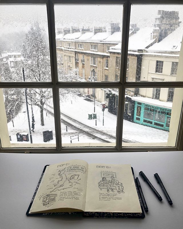 Flicking through old photos and found this pic from winter, when I was drawing with a snowy view from my flat ☺️❄️✍🏼 It's made me sad to realise how long it's been since I've had any time to draw. I've been quiet as a flea on here for a few months. Hospital life is certainly turning out to be quite all-consuming. Drawing makes me happy though, and so does learning, so I am going to try and make more time for it this Summer. Those of you in healthcare who feel like you're not doing the things you like outside of work because you're too tired, I feel you!!! Let's try and win back our free time activities!! #sketch #snow #illustration #bathuk #fabercastell #medic #georgian #winter