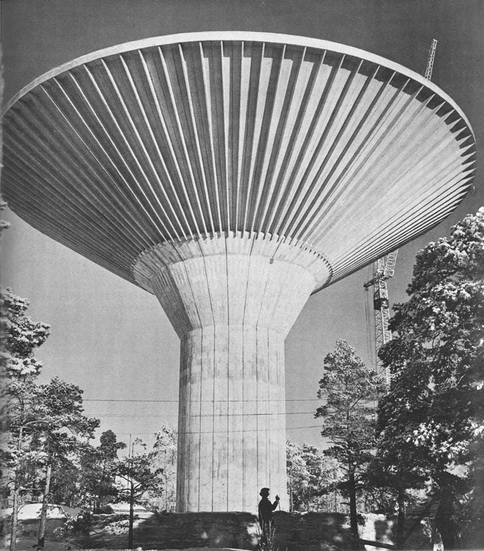 "Cooling Tower, Carling, France 1949, From the book ""Twentieth Century Engineering"", New York: The Museum of Modern Art, 1964."