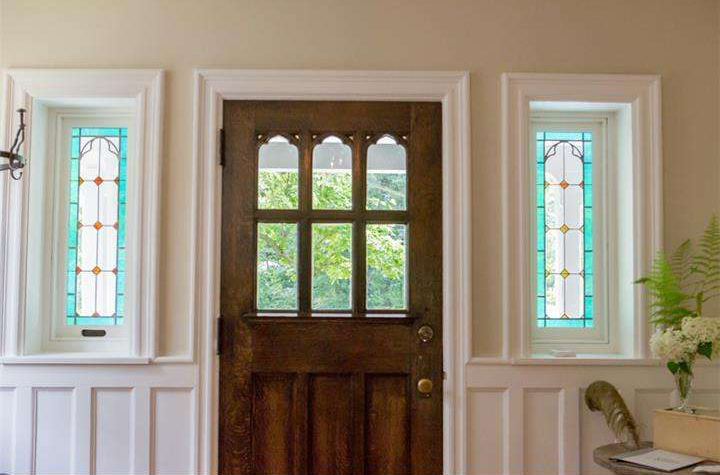 Lincoln Drive - original restored front door and stained glass