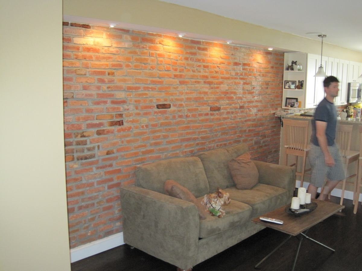 Existing brick was exposed in the living/dining area