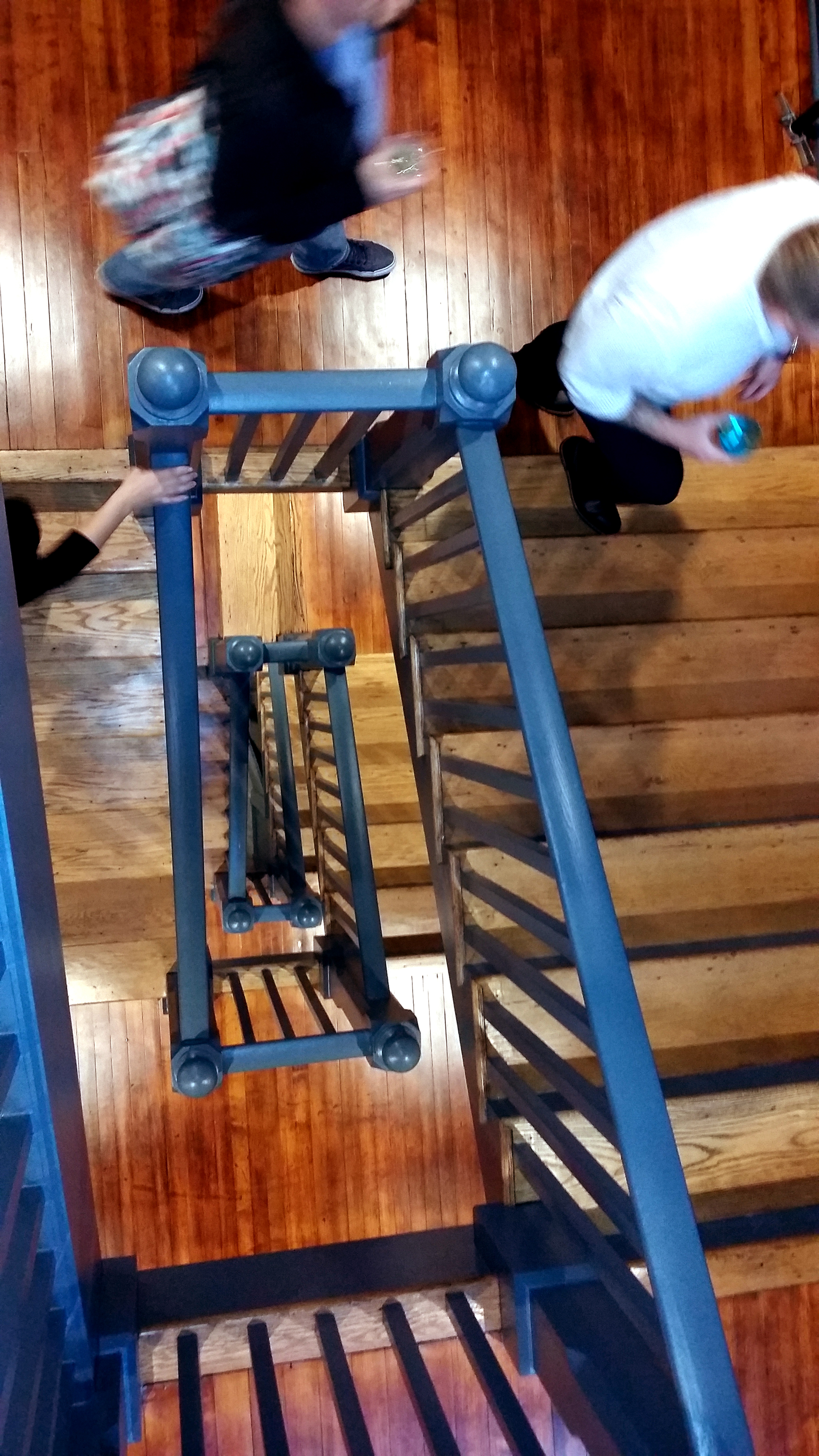 The original main staircase was repaired and refinished, then extended up to the third floor.