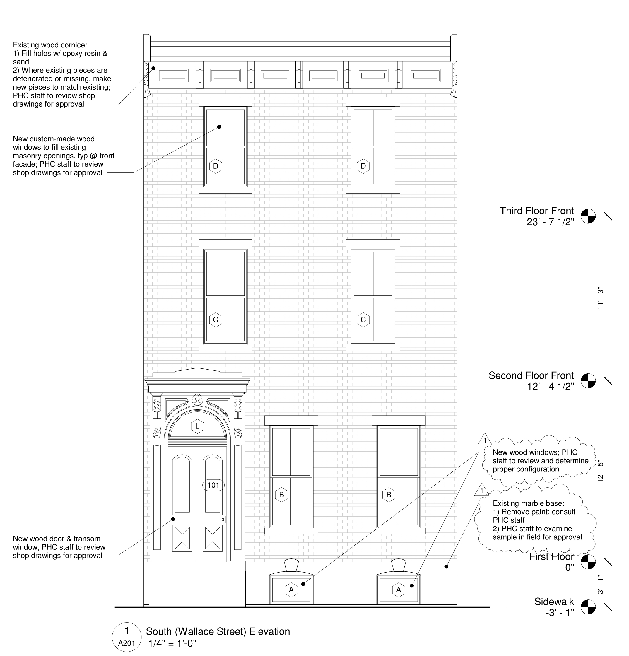 Proposed Facade Restoration Drawing, 1629 Wallace Street
