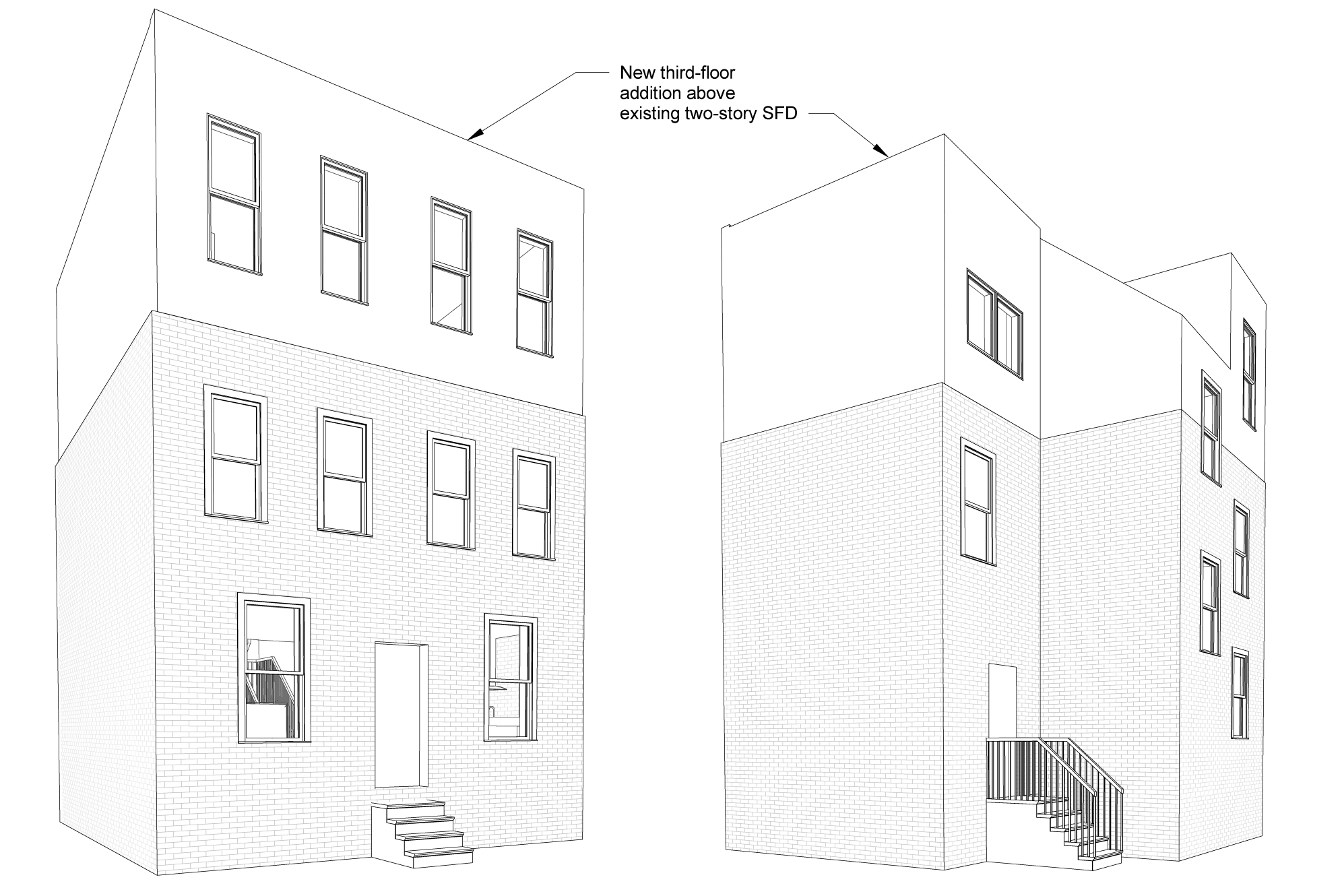Rough front and rear views of the finished house, from during preliminary design.